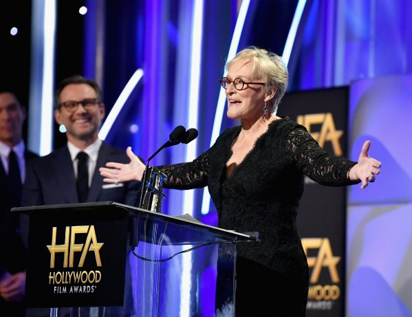 Glenn Close accepts the Hollywood Actress Award for 'The Wife' onstage during the 22nd Annual Hollywood Film Awards. Photo courtesy: Getty Images