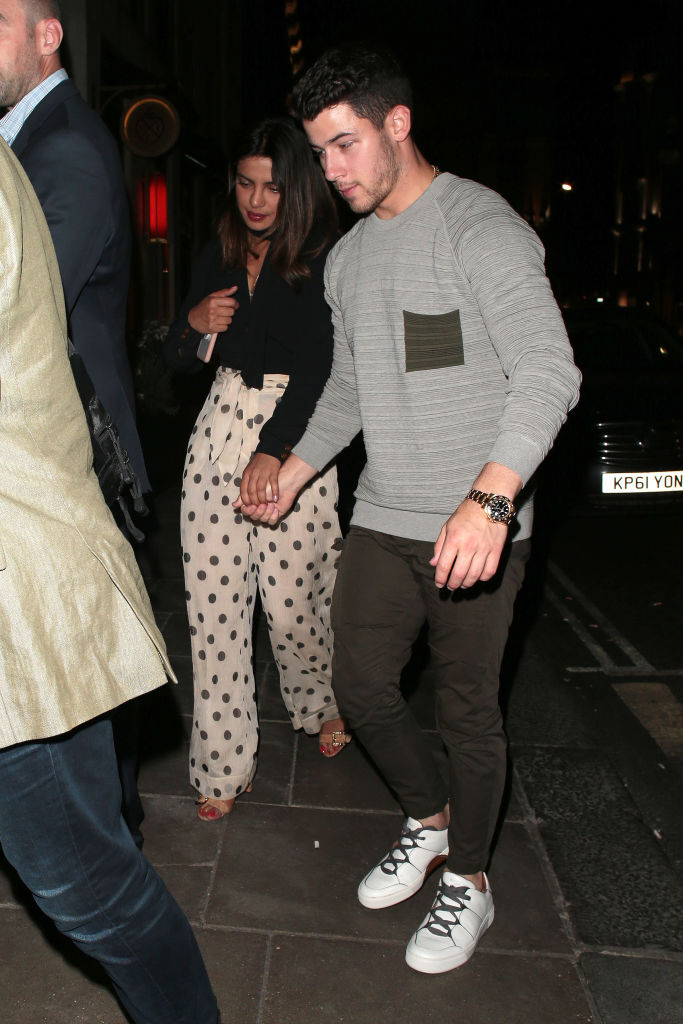 Priyanka Chopra and Nick Jonas seen on a night out arriving at Sketch on July 17, 2018 in London, England. (Photo by Ricky Vigil M/GC Images)