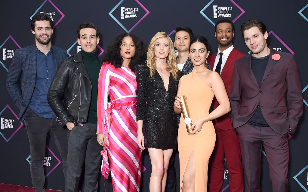 (L-R) Matthew Daddario, Alberto Rosende, Alisha Wainwright, Katherine McNamara, Harry Shum Jr., Emeraude Toubia, Isaiah Mustafa, and Dominic Sherwood of 'Shadowhunters: The Mortal Instruments', Show of 2018, pose in the press room at the People's Choice Awards 2018 at Barker Hangar on November 11, 2018 in Santa Monica, California. (Photo by Gregg DeGuire/Getty Images)