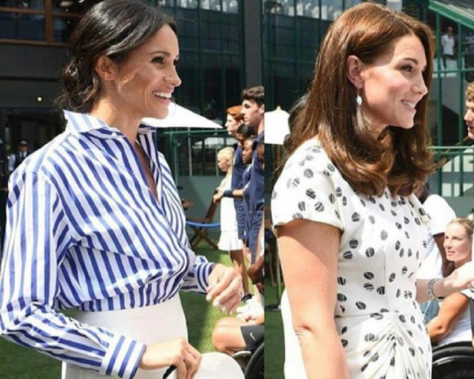 Kate and Meghan keep it simple as they arrive to support Serena Williams at Wimbeldon.