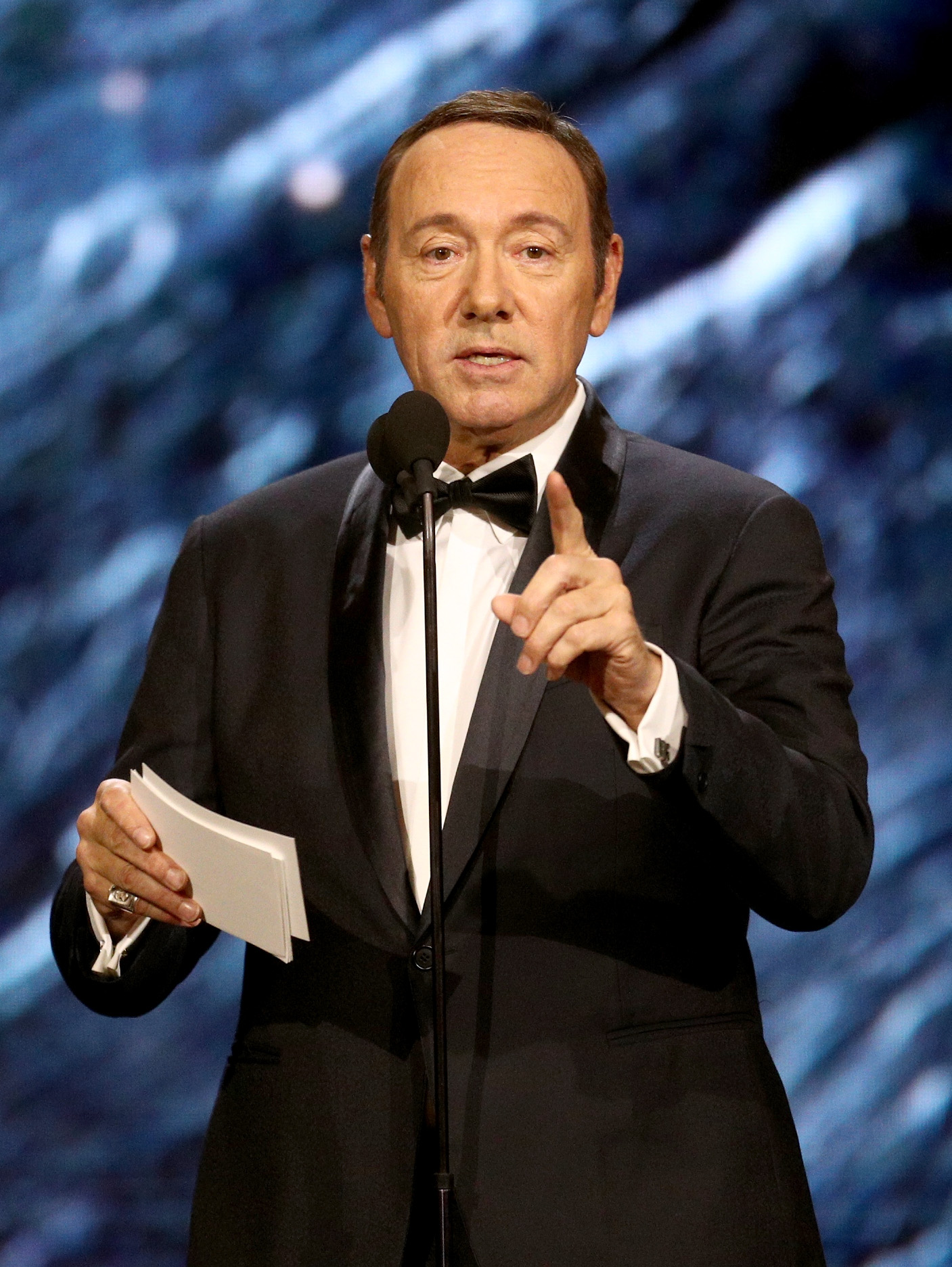 Kevin Spacey onstage to present Britannia Award for Excellence in Television presented by Swarovski at the 2017 AMD British Academy Britannia Awards Presented by American Airlines And Jaguar Land Rover at The Beverly Hilton Hotel on October 27, 2017 in Beverly Hills, California.