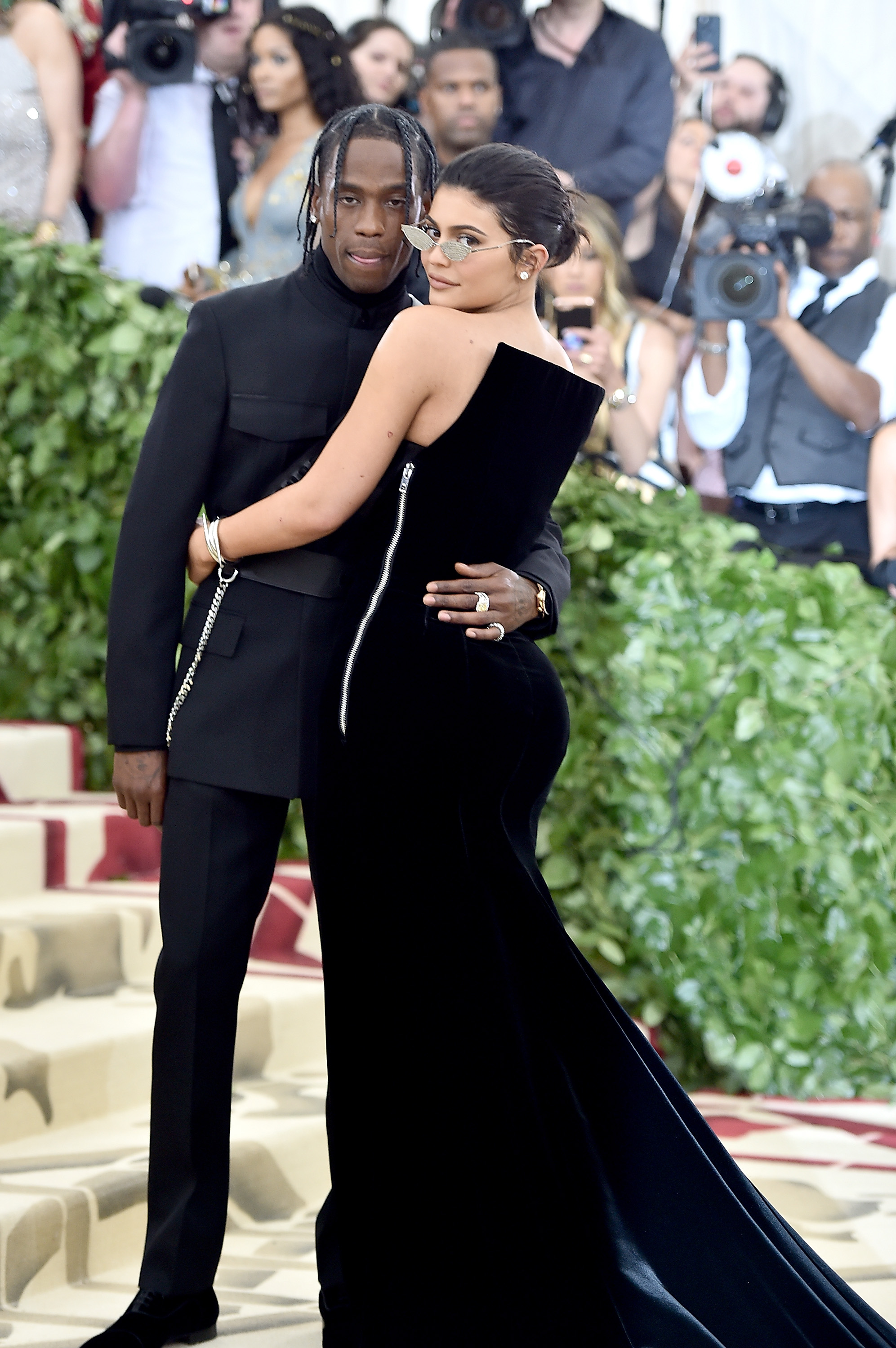 Travis Scott and Kylie Jenner attend the Heavenly Bodies: Fashion & The Catholic Imagination Costume Institute Gala at The Metropolitan Museum of Art on May 7, 2018, in New York City.