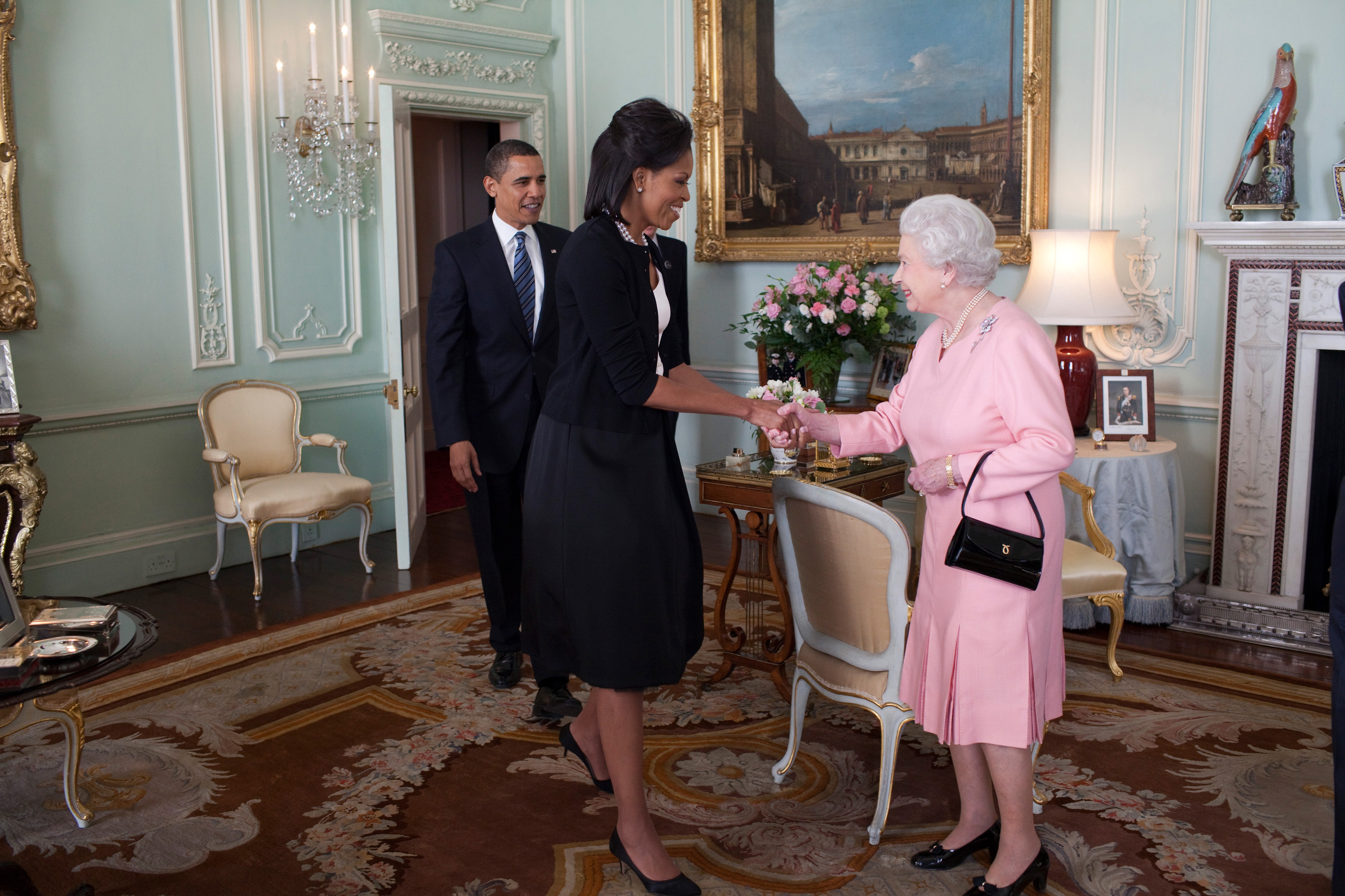 U.S. President Barack Obama and First Lady Michelle Obama are welcomed by Her Majesty Queen Elizabeth II to Buckingham Palace on April 1, 2009 in London, England. Obama is serving as the 44th President of the U.S. and the first African-American to be elected to the office of President in the history of the United States.