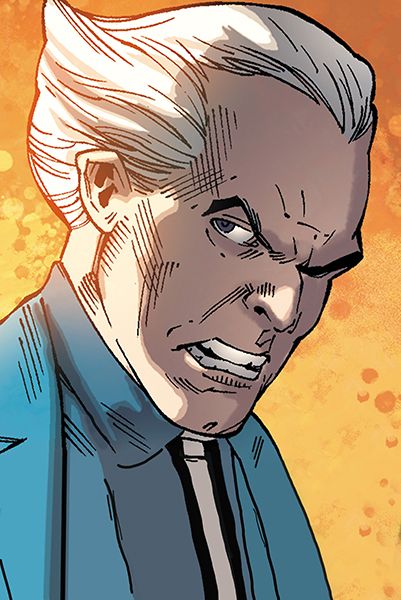 Simon Stagg (the owner of Stagg Industries) has it out for Metamorpho ever since he started dating Stagg's daughter (Source: DC Universe)