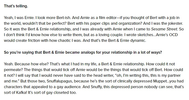 Mark Sultzman further his explanation on why he chose to go about penning Bert and Ernie as a gay couple. Source: Queerty