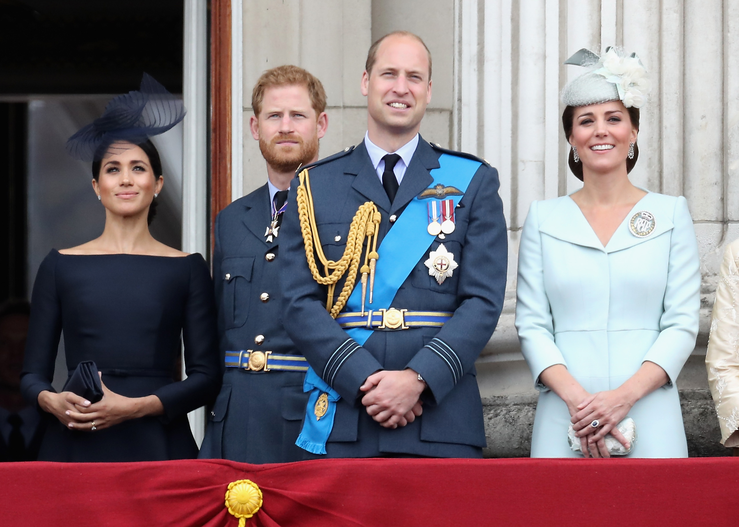 (L-R) Meghan, Prince Harry, Prince William, and Kate Middleton at the RAF flypast on the balcony of Buckingham Palace on July 10, 2018, in London (Getty Images)