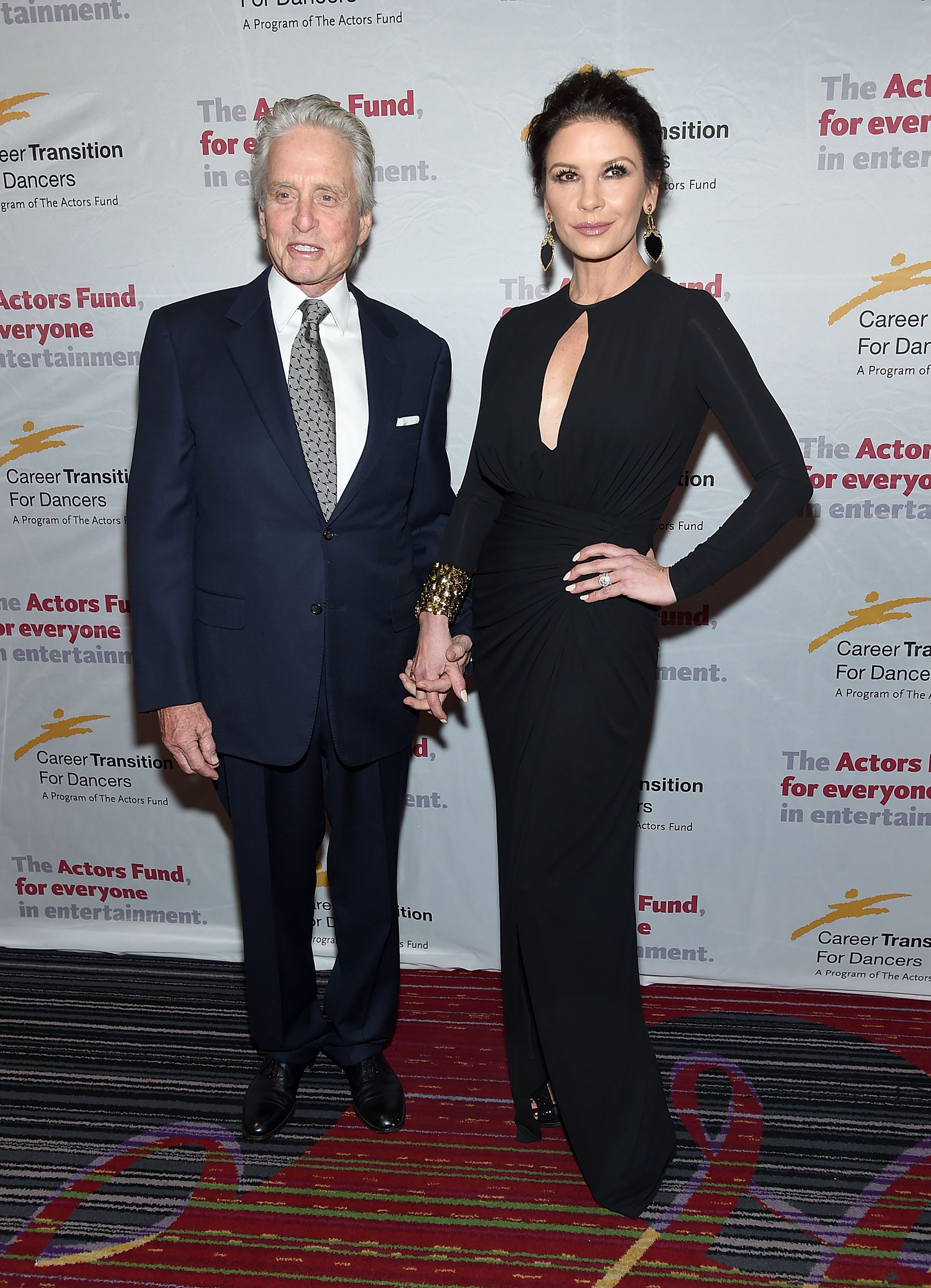 Michael Douglas and Catherine Zeta-Jones attend The Actor's Fund Career Transition For Dancers 2017 Jubilee Gala on November 1, 2017 in New York City. (Photo by Jamie McCarthy/Getty Images)