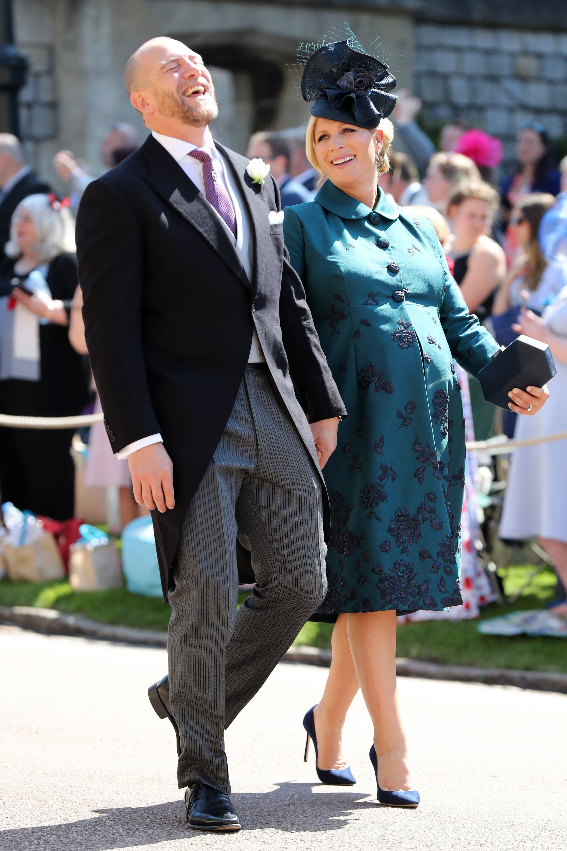 Mike Tindall and Zara Tindall arrive at St George's Chapel at Windsor Castle before the wedding of Prince Harry to Meghan Markle on May 19, 2018 in Windsor, England (Getty Images)