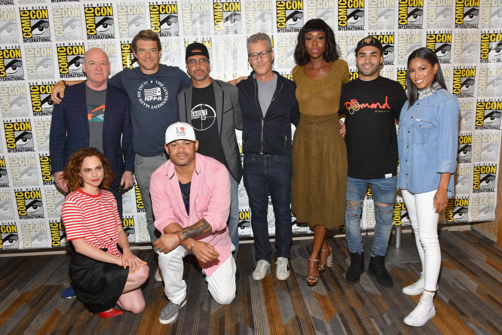 (L-R) Tom Kelly, Fiona Dourif, Jason Blum, Anthony Hemingway, James DeMonaco, Brad Fuller, Amanda Warren, Gabriel Chavarria and Lex Scott Davis attend the 'The Purge' Press Line during Comic-Con International 2018 at Hilton Bayfront on July 21, 2018 in San Diego, California. (Photo by Dia Dipasupil/Getty Images)