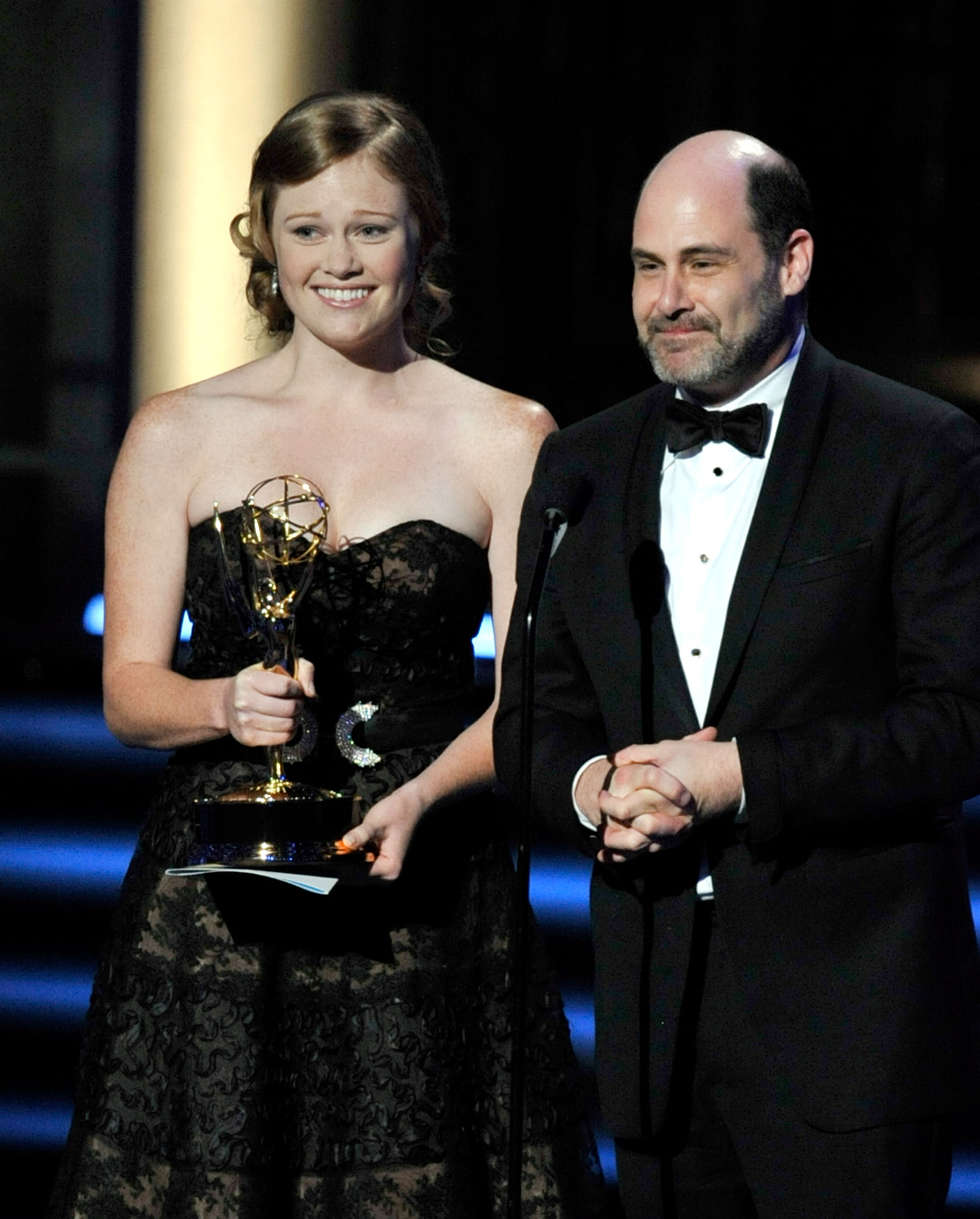 Writers Kater Gordon and Matthew Weiner accept the Outstanding Writing for a Comedy Series award for 'Mad Men' onstage during the 61st Primetime Emmy Awards held at the Nokia Theatre on September 20, 2009, in Los Angeles, California. (Ge