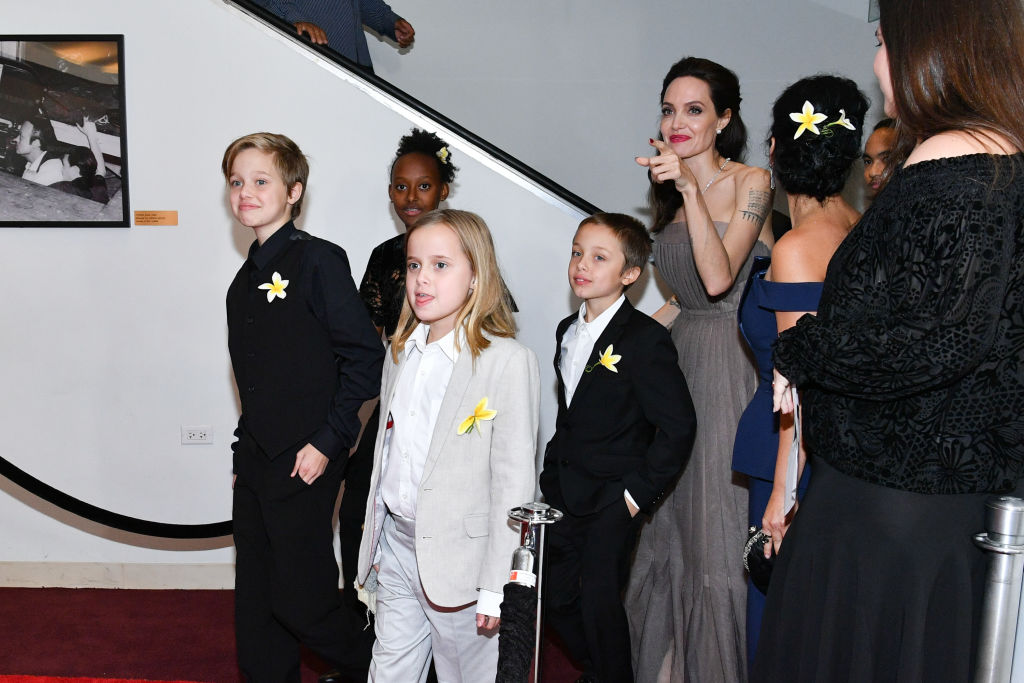 Shiloh Jolie-Pitt, Zahara Jolie-Pitt, Vivienne Jolie-Pitt, Knox Leon Jolie-Pitt, and Angelina Jolie attend the 'First They Killed My Father' New York premiere at DGA Theater on September 14, 2017 in New York City. (Photo by Dia Dipasupil/Getty Images)