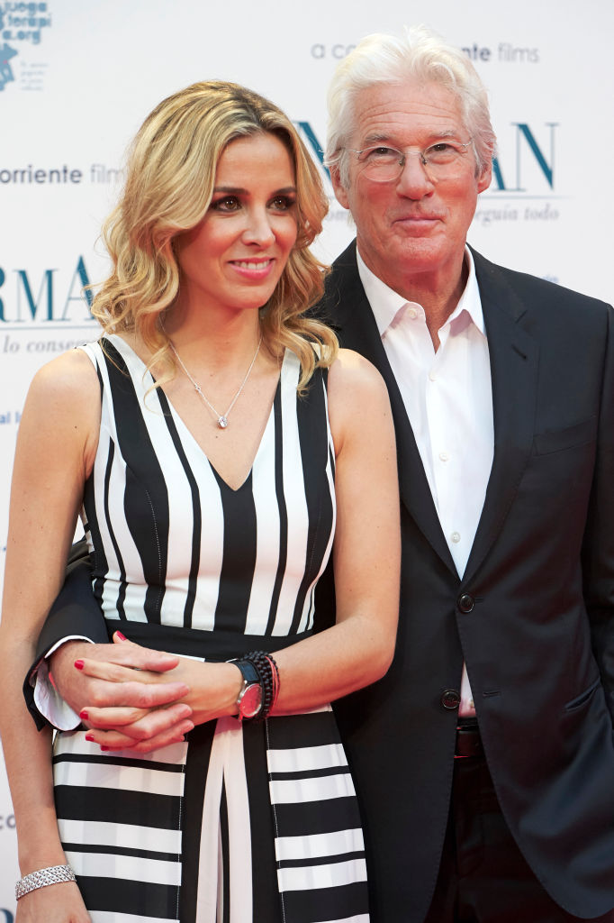 Alejandra Silva and actor Richard Gere attend the 'Norman: The Moderate Rise and Tragic Fall of a New York Fixer' premiere at the Callao cinema on May 31, 2017 in Madrid, Spain. (Photo by Carlos Alvarez/Getty Images)