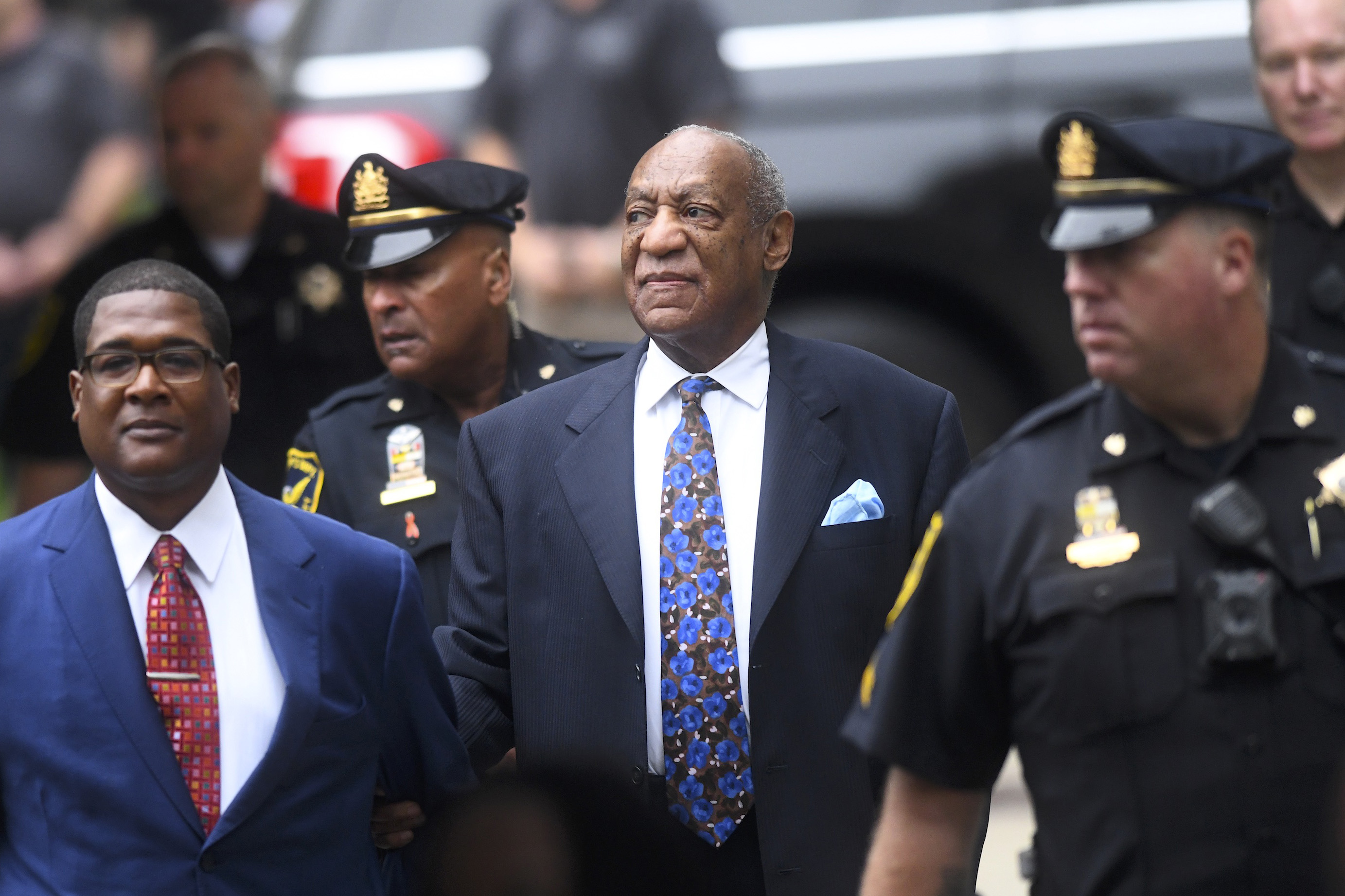 (C) Bill Cosby arrives at the Montgomery County Courthouse on the first day of sentencing in his sexual assault trial on September 24, 2018 in Norristown, Pennsylvania. In April, Cosby was found guilty on three counts of aggravated indecent assault for drugging and sexually assaulting Andrea Constand at his suburban Philadelphia home in 2004. 60 women have accused the 80 year old entertainer of sexual assault.