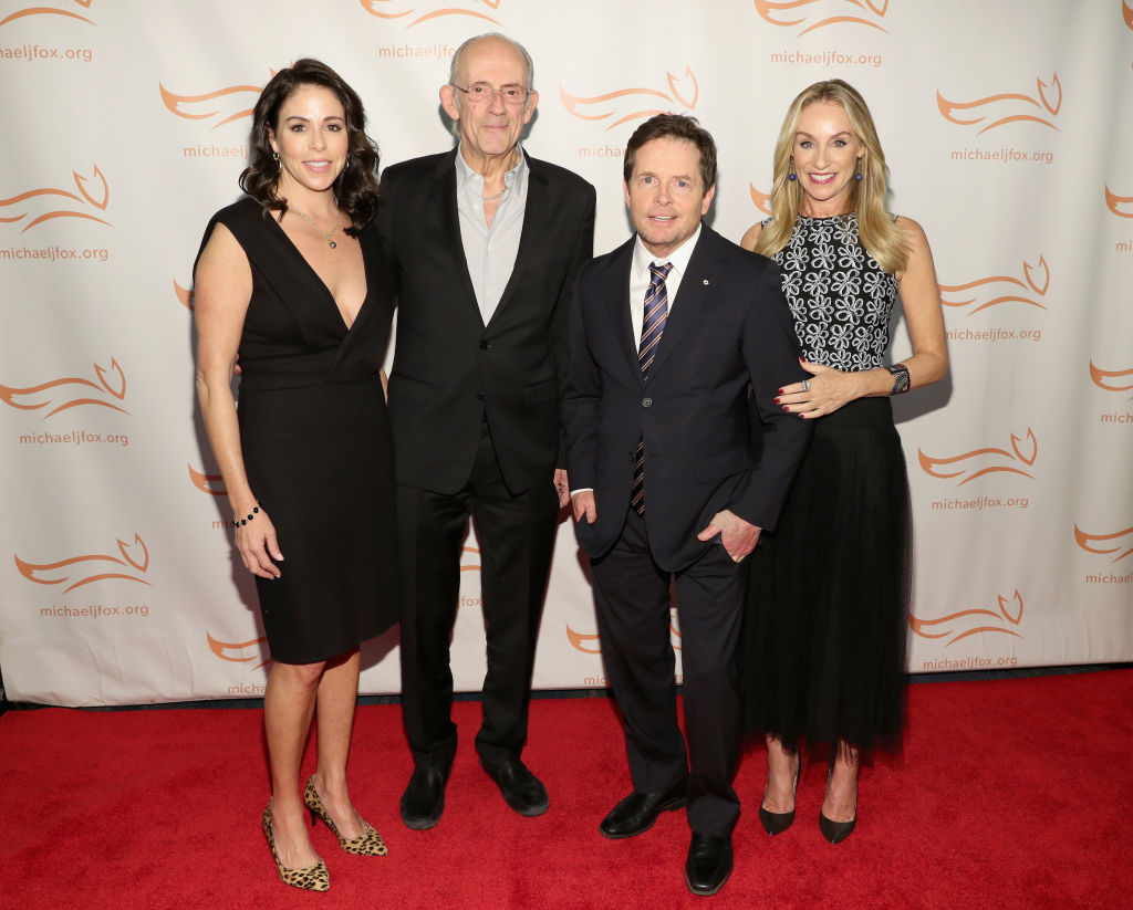 Lisa Loyd, Christopher Lloyd, Michael J. Fox and Tracy Pollan on the red carpet of A Funny Thing Happened On The Way To Cure Parkinson's benefitting The Michael J. Fox Foundation at the Hilton New York on November 10, 2018. (Photo by Cindy Ord/Getty Images)