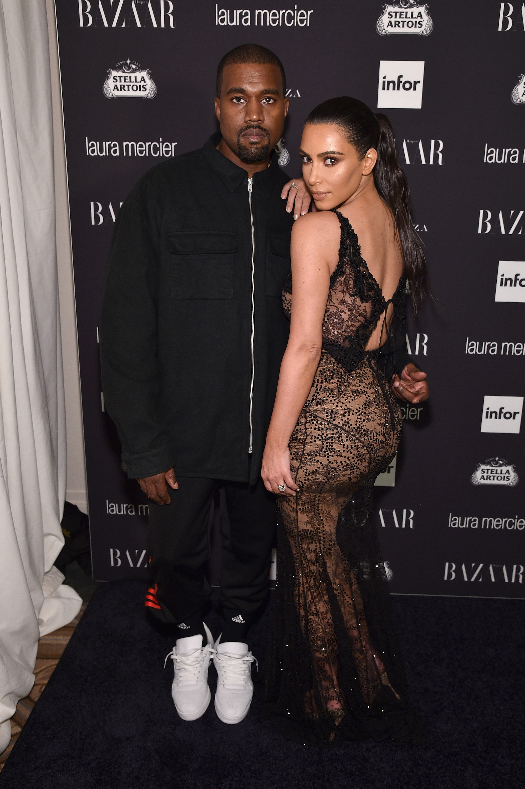 Kanye West and Kim Kardashian West attend Harper's Bazaar's celebration of 'ICONS By Carine Roitfeld' presented by Infor, Laura Mercier, and Stella Artois at The Plaza Hotel on September 9, 2016, in New York City. (Getty)