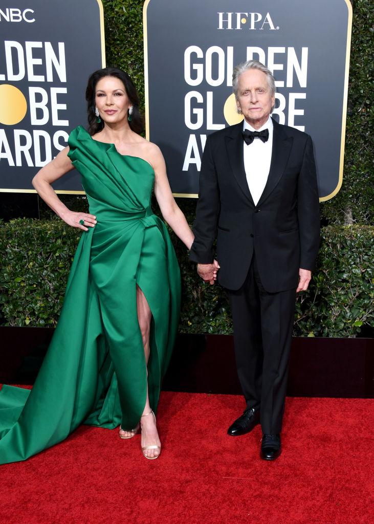 Catherine Zeta-Jones and Michael Douglas at the Golden Globe Awards (Source: Getty Images)