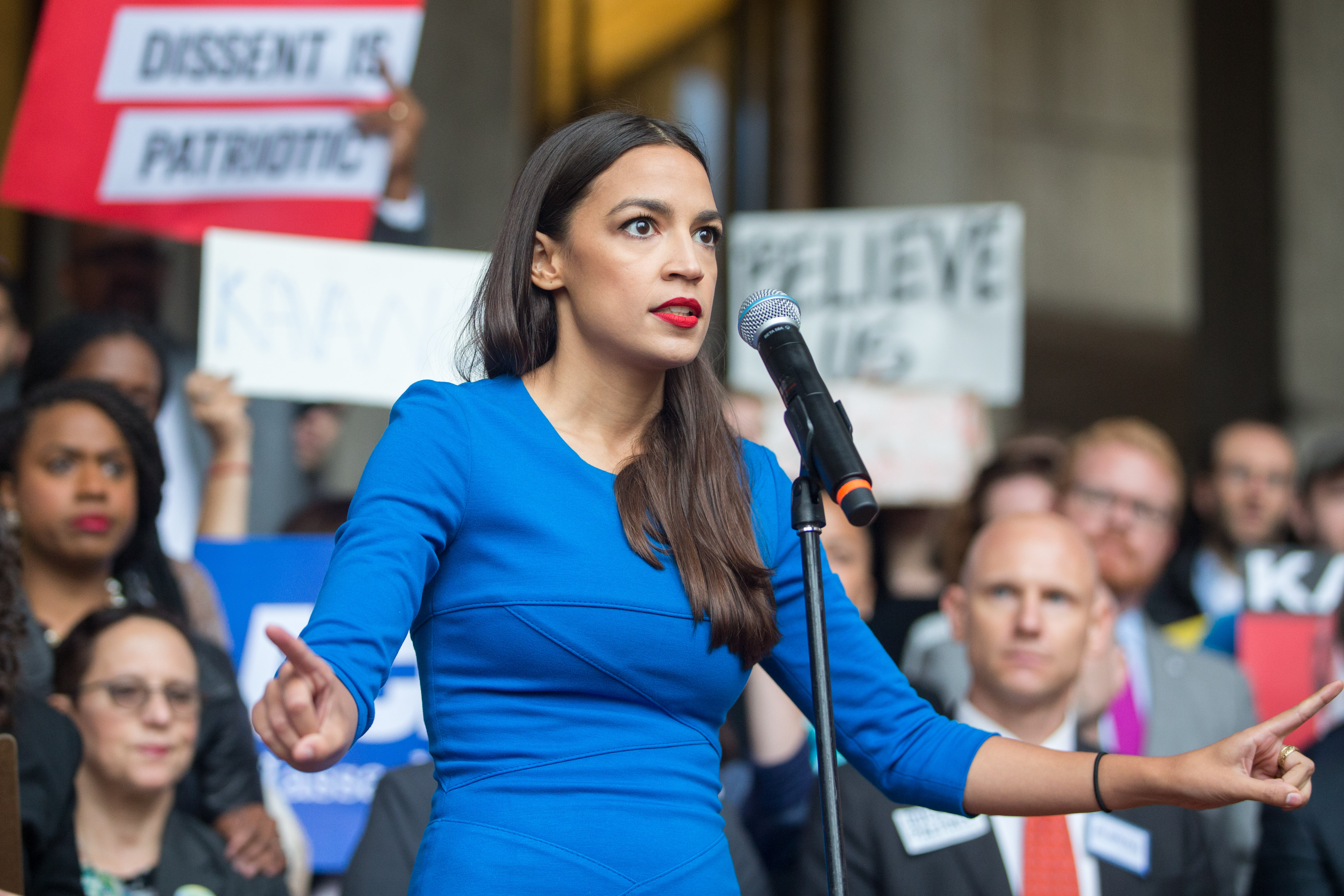 New York Democratic congressional candidate Alexandria Ocasio-Cortez speaks at a rally calling on Sen. Jeff Flake (R-AZ) to reject Judge Brett Kavanaugh's nomination to the Supreme Court on October 1, 2018, in Boston, Massachusetts. (Getty Images)