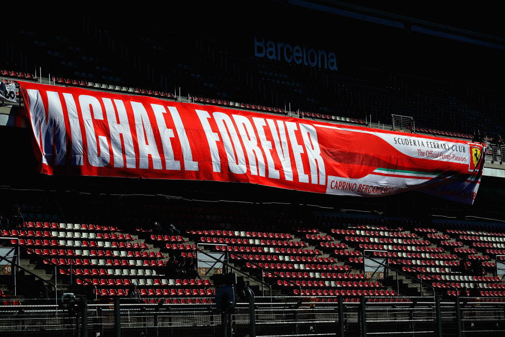 A Michael Schumacher tribute banner hung by fans in the stands during day two of F1 Winter Testing at Circuit de Catalunya on March 7, 2018, in Montmelo, Spain. (Source: Mark Thompson/Getty Images)