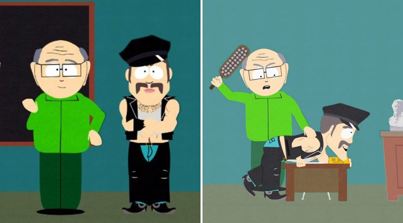 Mr Garrison and Mr Slave from the show Southpark. (Source: Comedy Central)