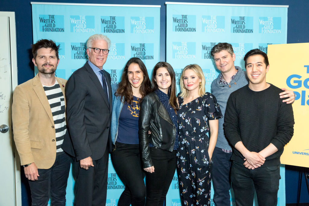 (from left to right) Moderator Adam Scott, Actor Ted Danson, Writers Megan Amram and Jen Statsky, Actress Kristen Bell and show creator Michael Schur and Writer Andrew Law attend the Writers Guild Foundation Presents - The Serialized Sitcom: Writing And Acting With 'The Good Place' at ArcLight Hollywood on May 25, 2017 in Hollywood, California. (Photo by Greg Doherty/Getty Images)