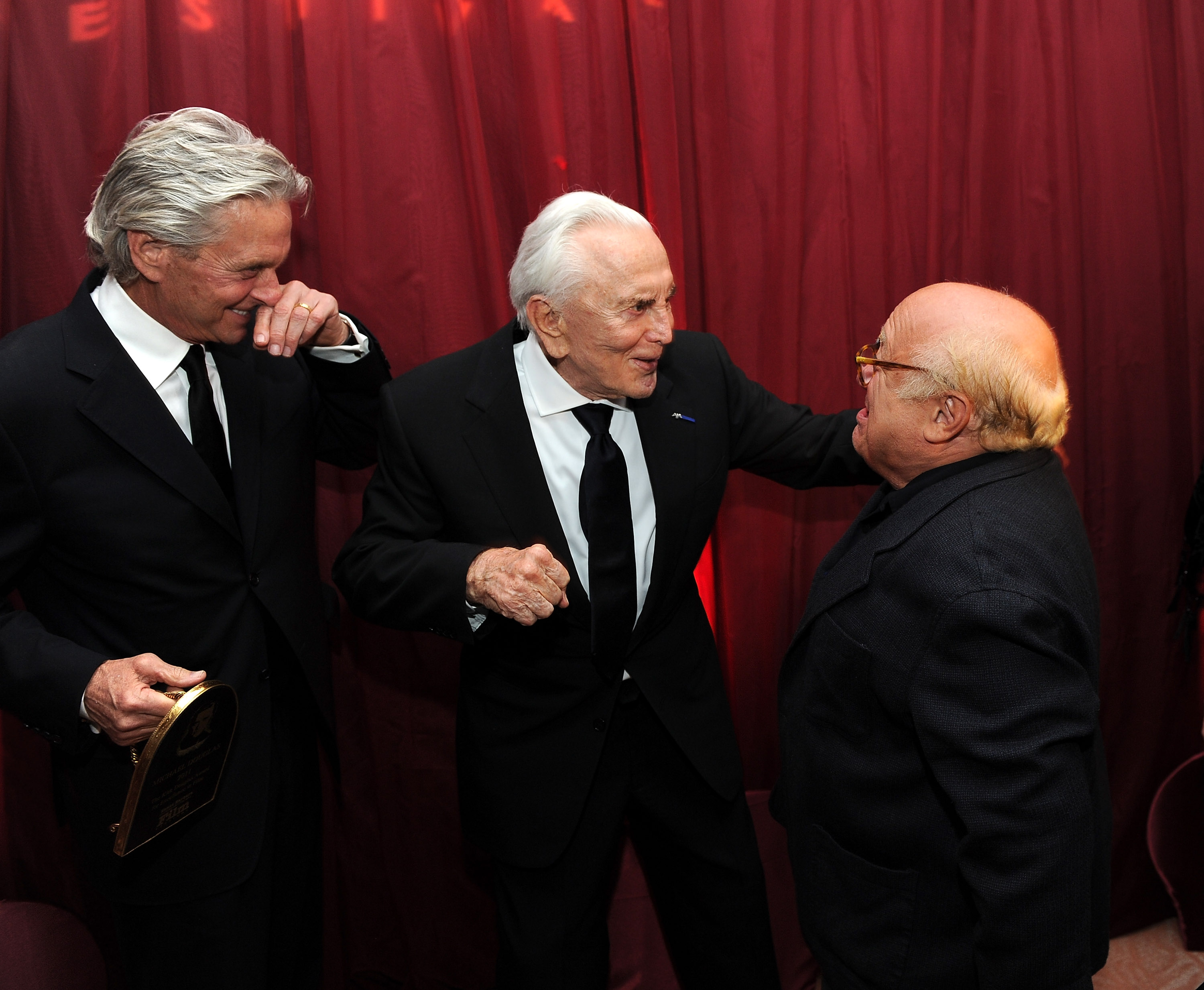 Actor Michael Douglas, actor Kirk Douglas and actor Danny Devito attend SBIFF's 2011 Kirk Douglas Award for Excellence In Film honoring Michael Douglas at the Biltmore Four Seasons on October 13, 2011 in Santa Barbara, California. (Photo by Michael Buckner/Getty Images)