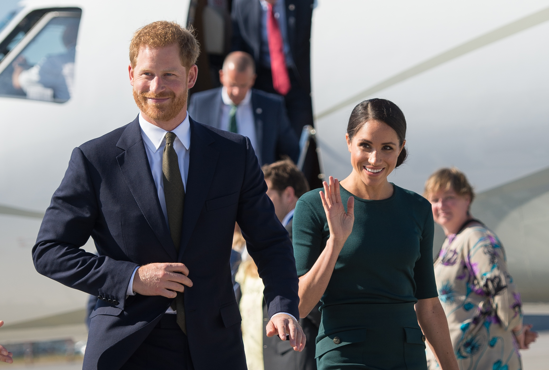 Meghan, Duchess of Sussex and Prince Harry, Duke of Sussex arrive at the airport for their visit to Ireland on July 10, 2018 in Dublin. (Getty Images)