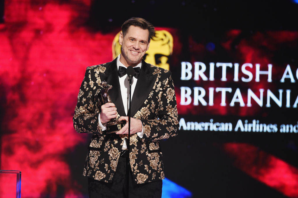 Jim Carrey accepts the Charlie Chaplin Britannia Award for Excellence in Comedy presented by Jaguar Land Rover onstage at the 2018 British Academy Britannia Awards (Getty Images)