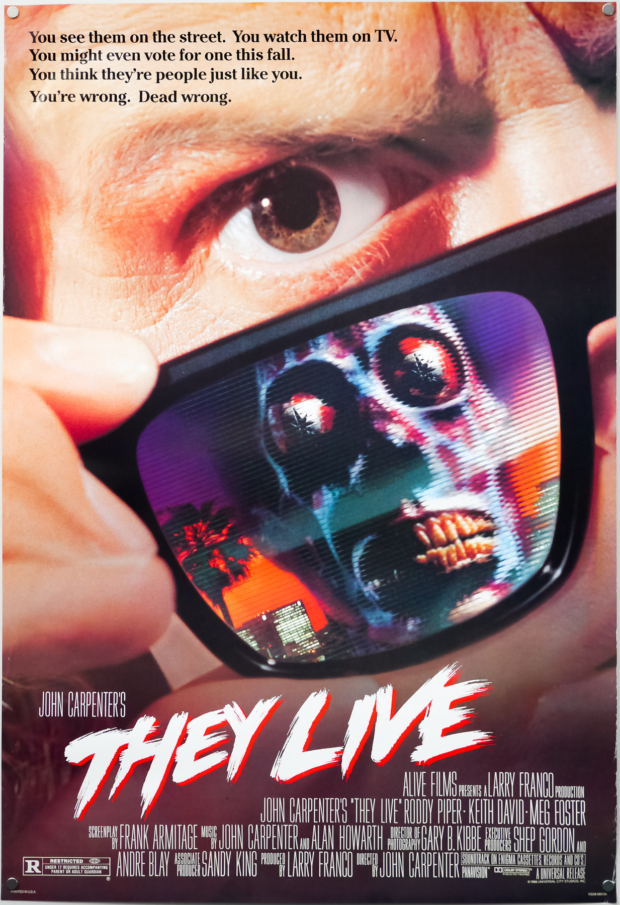 Poster for John Carpenter's cult-classic 'They Live'.