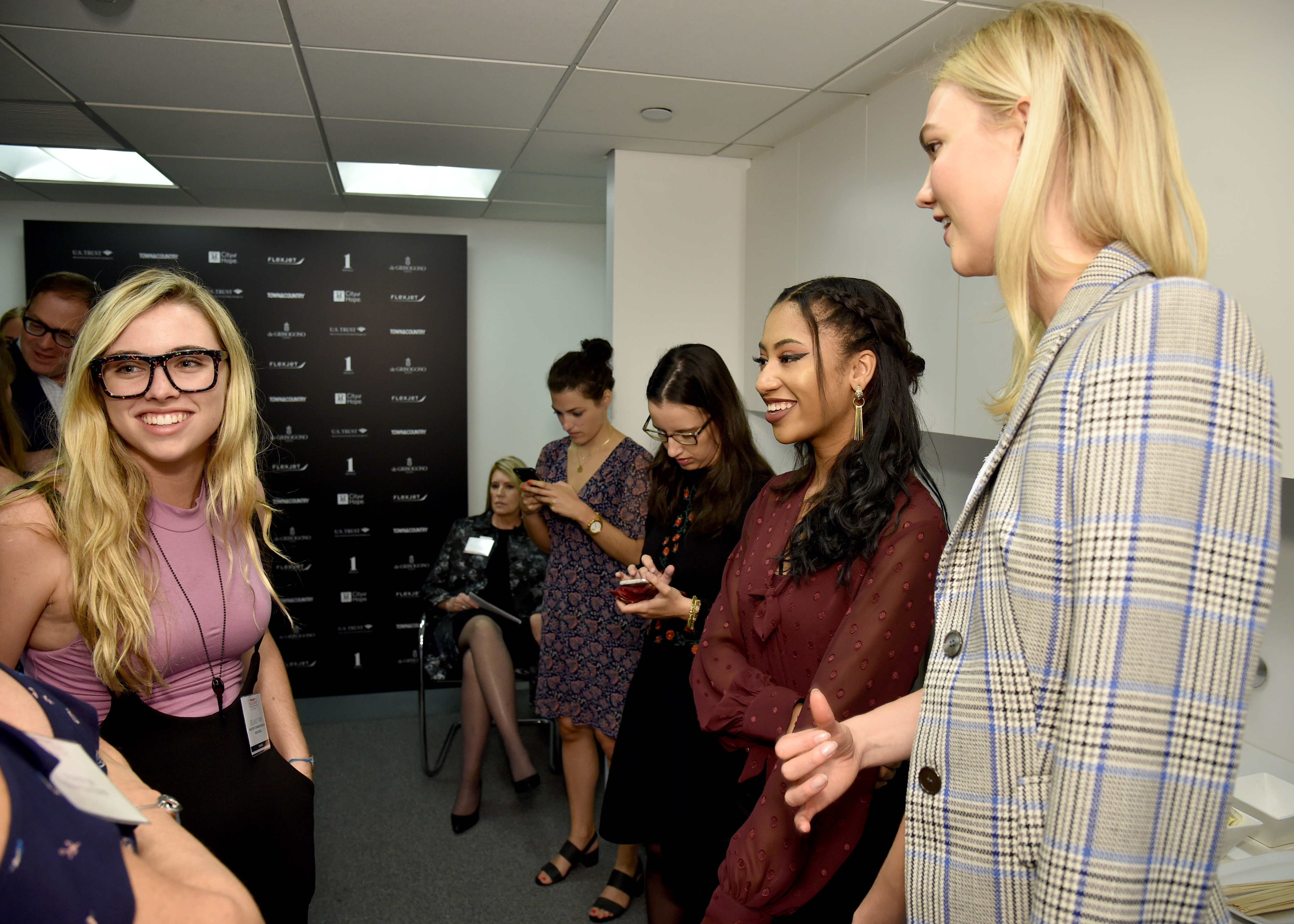 Marjory Stoneman Douglas High School Student Delaney Tarr, Kode With Klossy Scholar Alexis Williams and Model and Kode With Klossy Founder Karlie Kloss attend the Fifth Annual Town & Country Philanthropy Summit on May 9, 2018 in New York City.