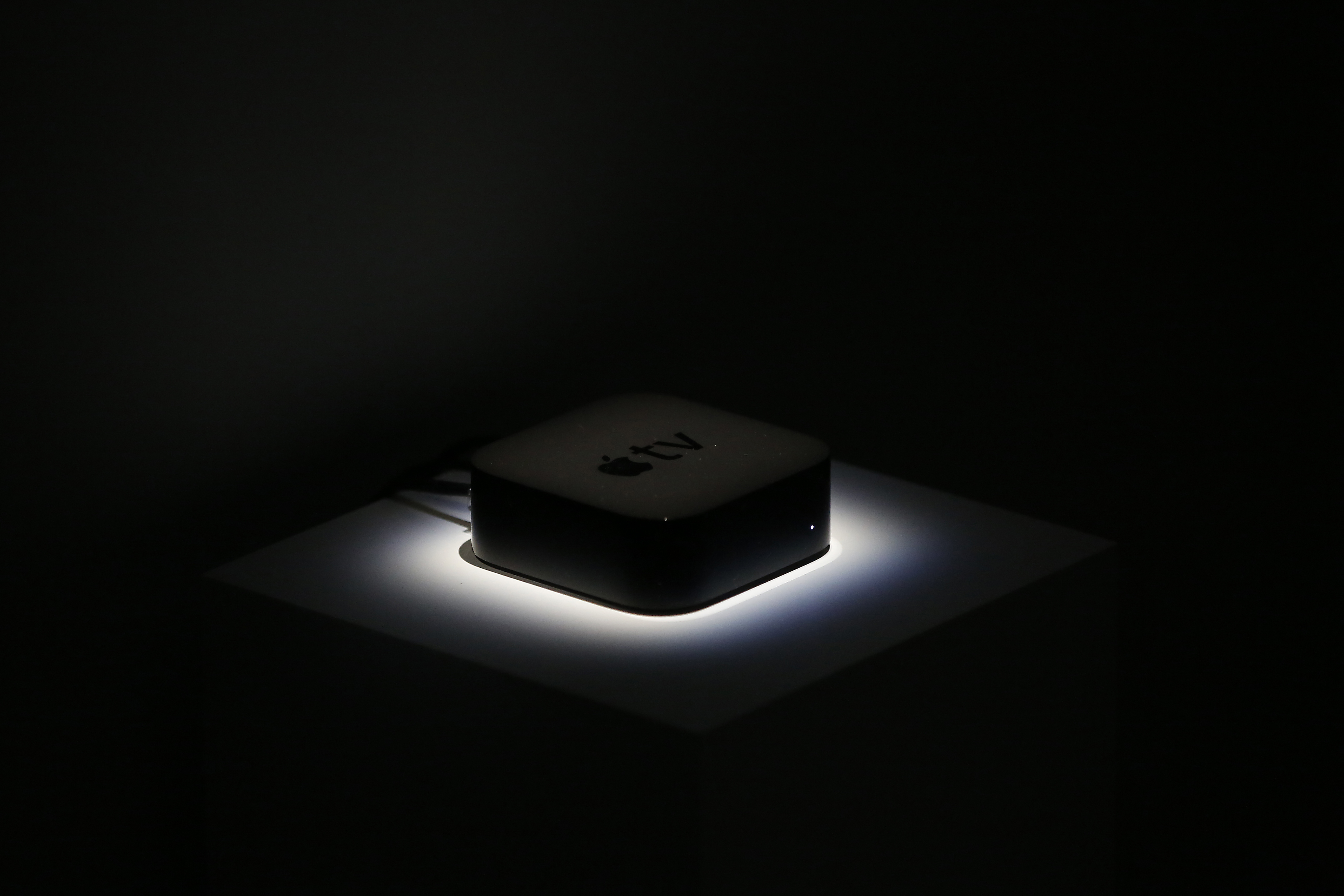 An Apple Tv set-top box is seen in the demo area after an Apple special event at Bill Graham Civic Auditorium on September 9, 2015 in San Francisco, California. Apple Inc. unveiled the latest iterations of its smart phone, the 6S and 6S Plus, an update to its Apple TV set-top box as well as announcing the new iPad Pro. (Photo by Stephen Lam/ Getty Images)