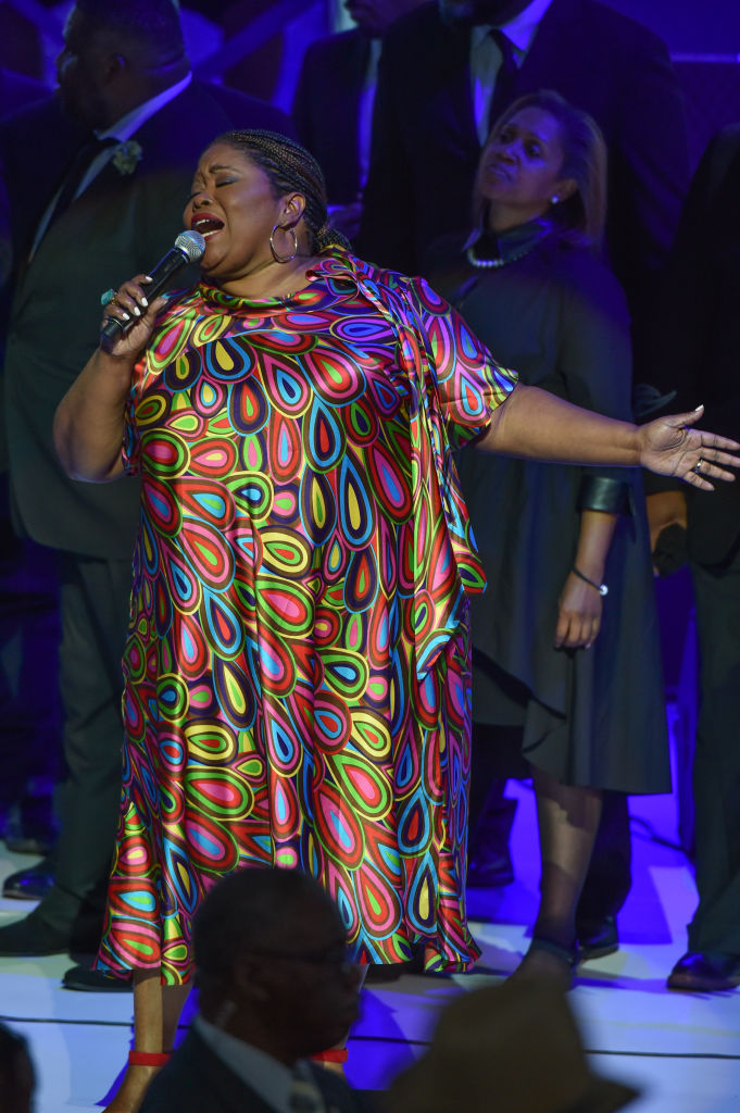 Singer Kathy Taylor Brown performs on stage at a Tribute Concert to celebrate the life of songstress Aretha Franklin at Chene Park on August 30, 2018 in Detroit, Michigan. (Photo by Aaron J. Thornton/Getty Images)