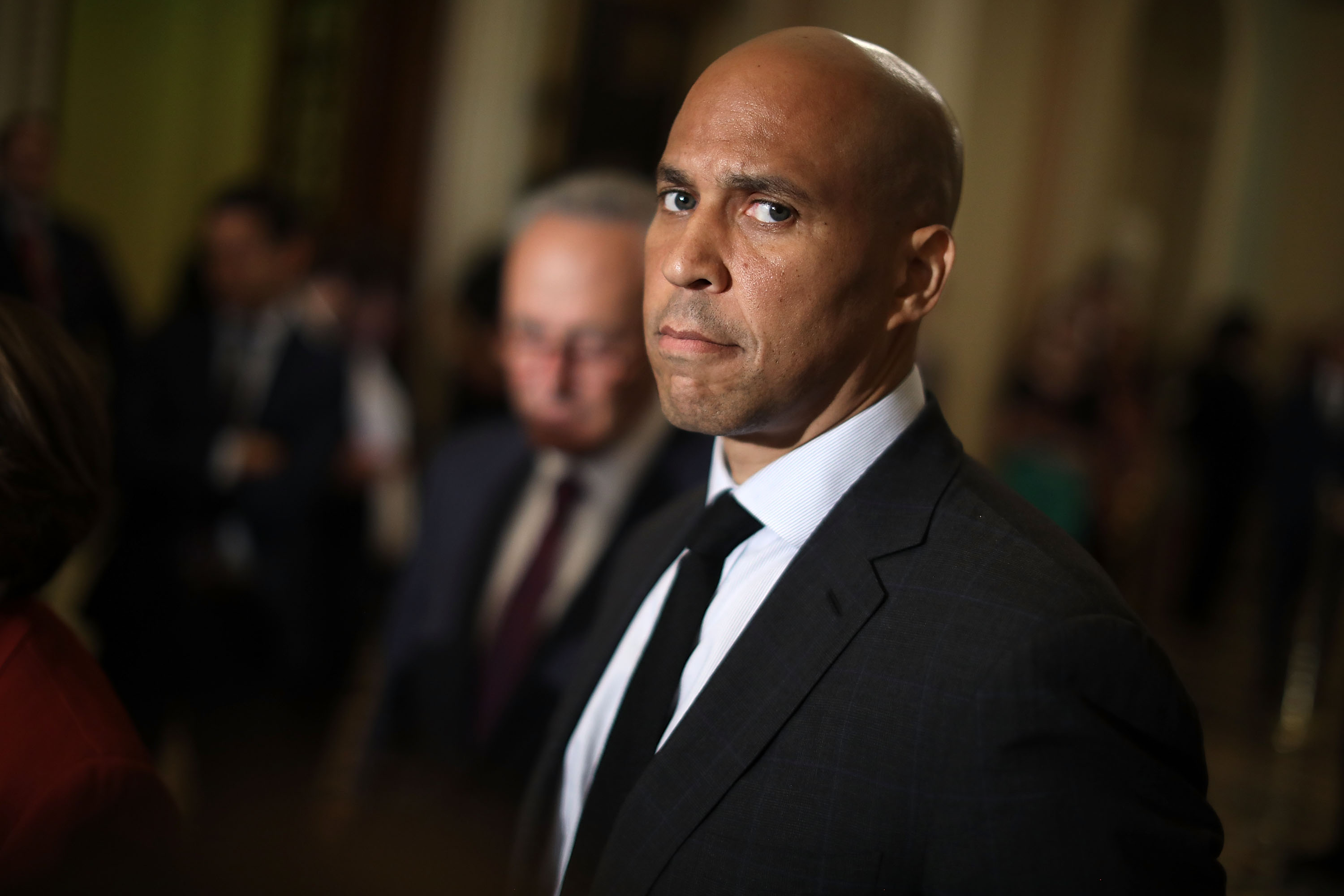 Sen. Cory Booker (D-NJ) talks with reporters following the weekly Democratic policy luncheon meeting at the U.S. Capitol July 10, 2018, in Washington, DC. (Getty Images)
