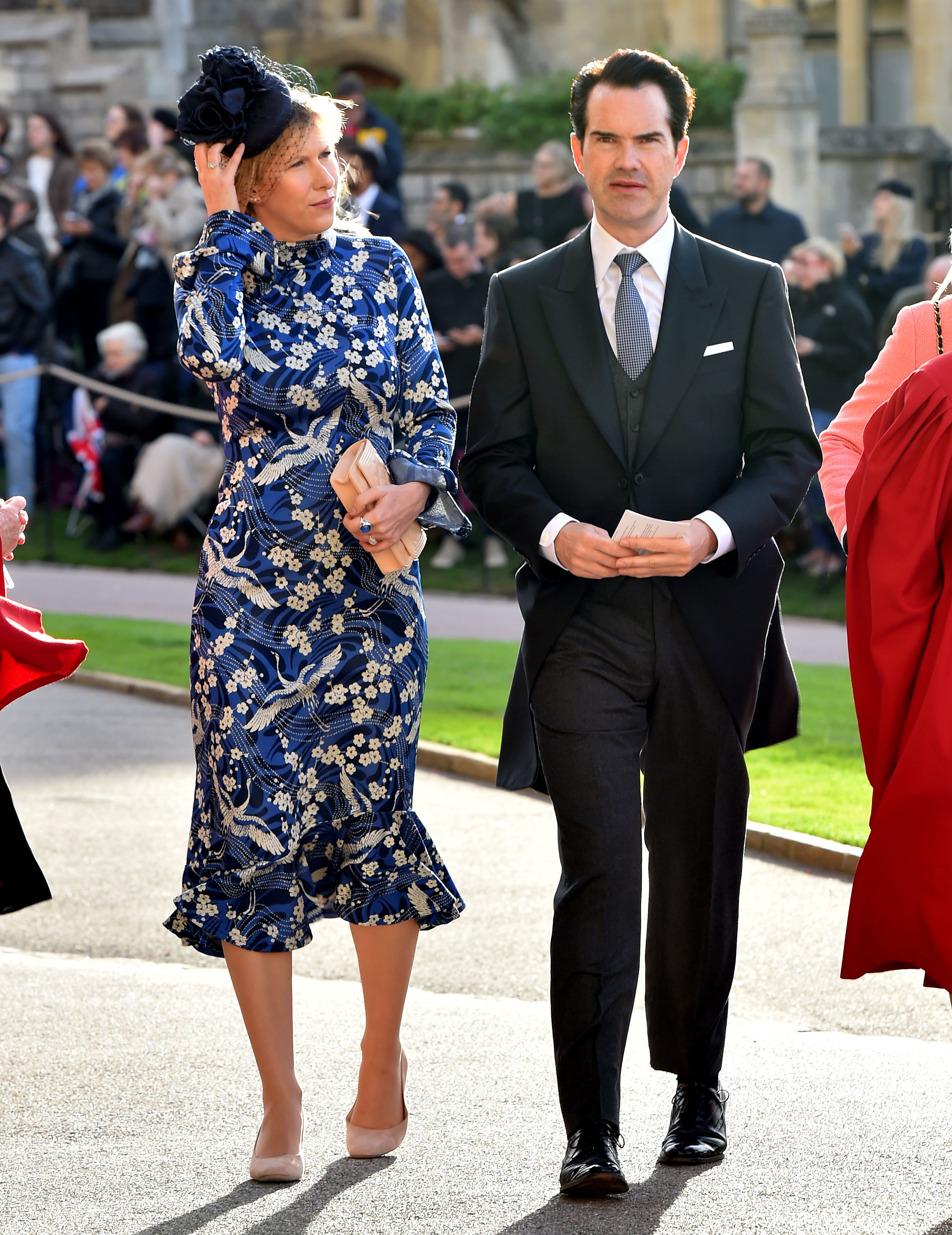 Karoline Copping and Jimmy Carr arrive ahead of the wedding of Princess Eugenie of York to Jack Brooksbank at Windsor Castle on October 12, 2018, in Windsor, England. (Getty Images)