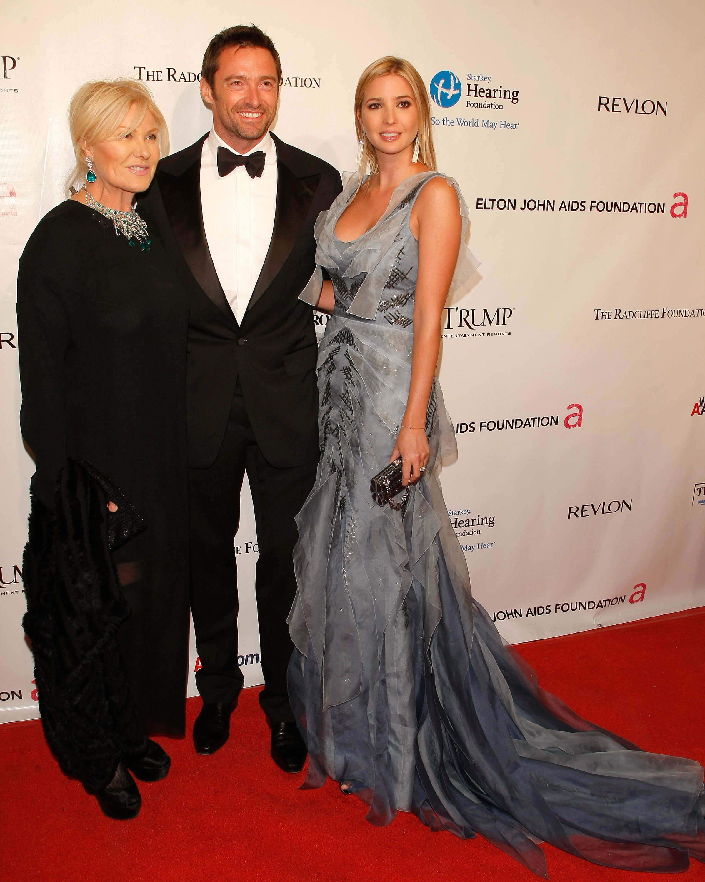 Deborra-Lee Furness, Hugh Jackman and Ivanka Trump attend the 9th Annual Elton John AIDS Foundation's 'An Enduring Vision' benefit at Cipriani, Wall Street on October 18, 2010 in New York City. (Photo by Jemal Countess/Getty Images)