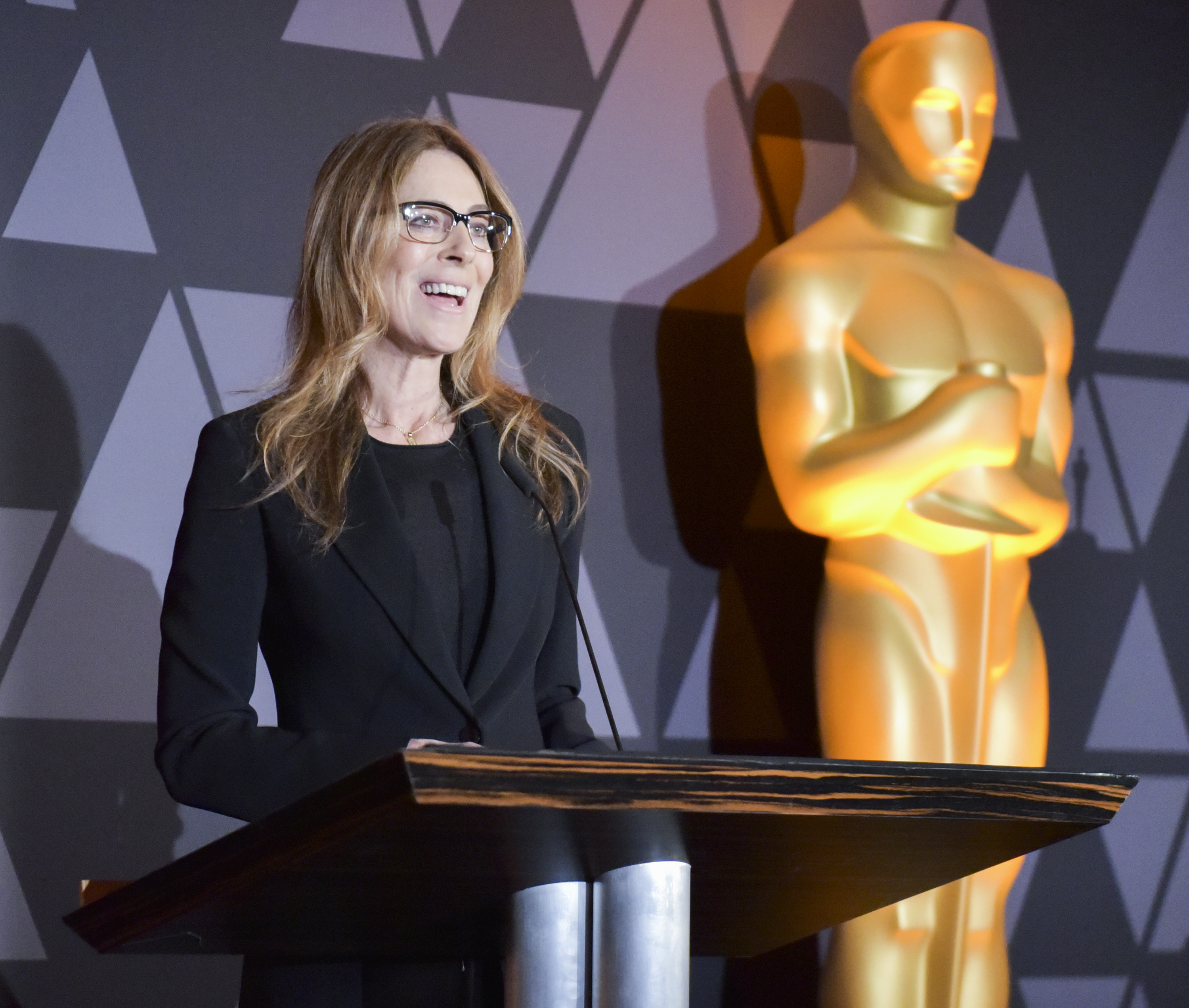 Kathryn Bigelow speaks onstage at The Oscars Foreign Language Film Award Directors Reception at the Academy of Motion Picture Arts and Sciences on March 2, 2018, in Beverly Hills, California. (Getty Images)