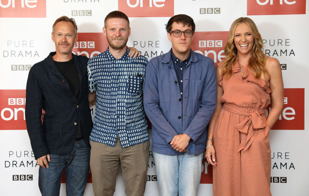 Stephen Mackintosh, Director Luke Snellin, Writer Nick Payne and Toni Collette during a photocall for BBC One's 'Wanderlust' held at the Covent Garden Hotel on July 30, 2018 in London, England. (Photo by Tim P. Whitby/Tim P. Whitby/Getty Images)