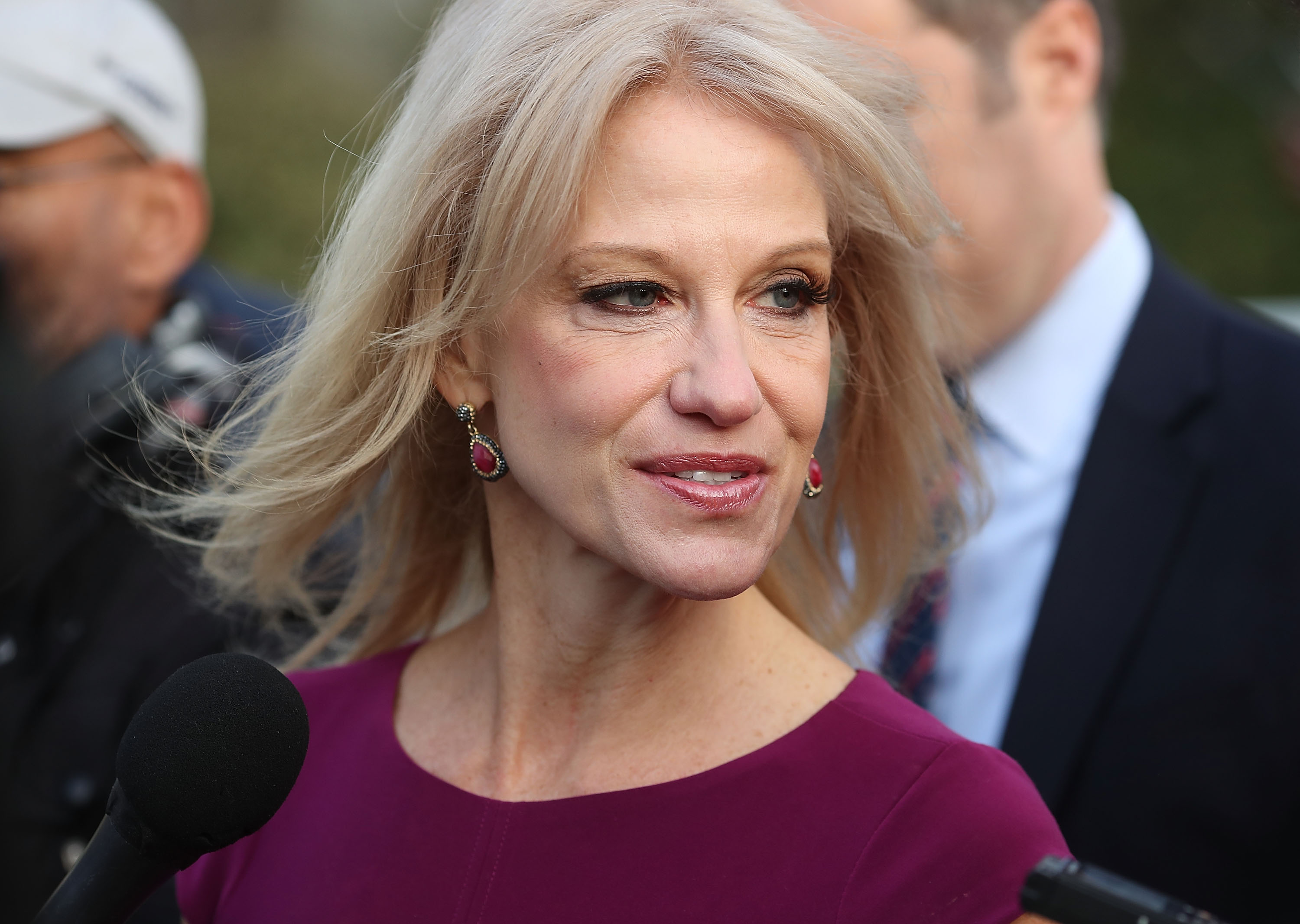 White House Counselor Kellyanne Conway speaks to reporters on the White House driveway after doing a television interview, on April 13, 2018, in Washington, DC. (Getty Images)