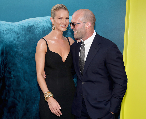 Rosie Huntington-Whiteley (L) and Jason Statham attend Warner Bros. Pictures And Gravity Pictures' Premiere of 'The Meg' at TCL Chinese Theatre IMAX on August 6, 2018 in Hollywood, California (Photo by Christopher Polk/Getty Images)