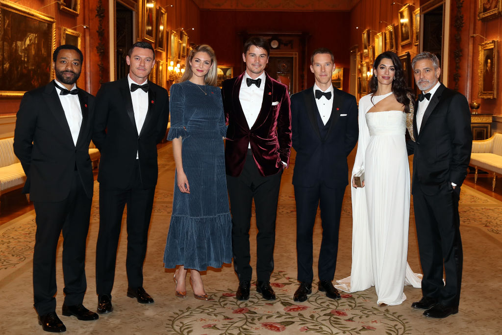 Chiwetel Ejiofor, Luke Evans, Tamsin Egerton, Josh Hartnett, Benedict Cumberbatch, Amal Clooney and George Clooney attend a dinner to celebrate The Prince's Trust, hosted by Prince Charles, Prince of Wales at Buckingham Palace on March 12, 2019, in London, England. (Photo by Chris Jackson - WPA Pool/Getty Images)