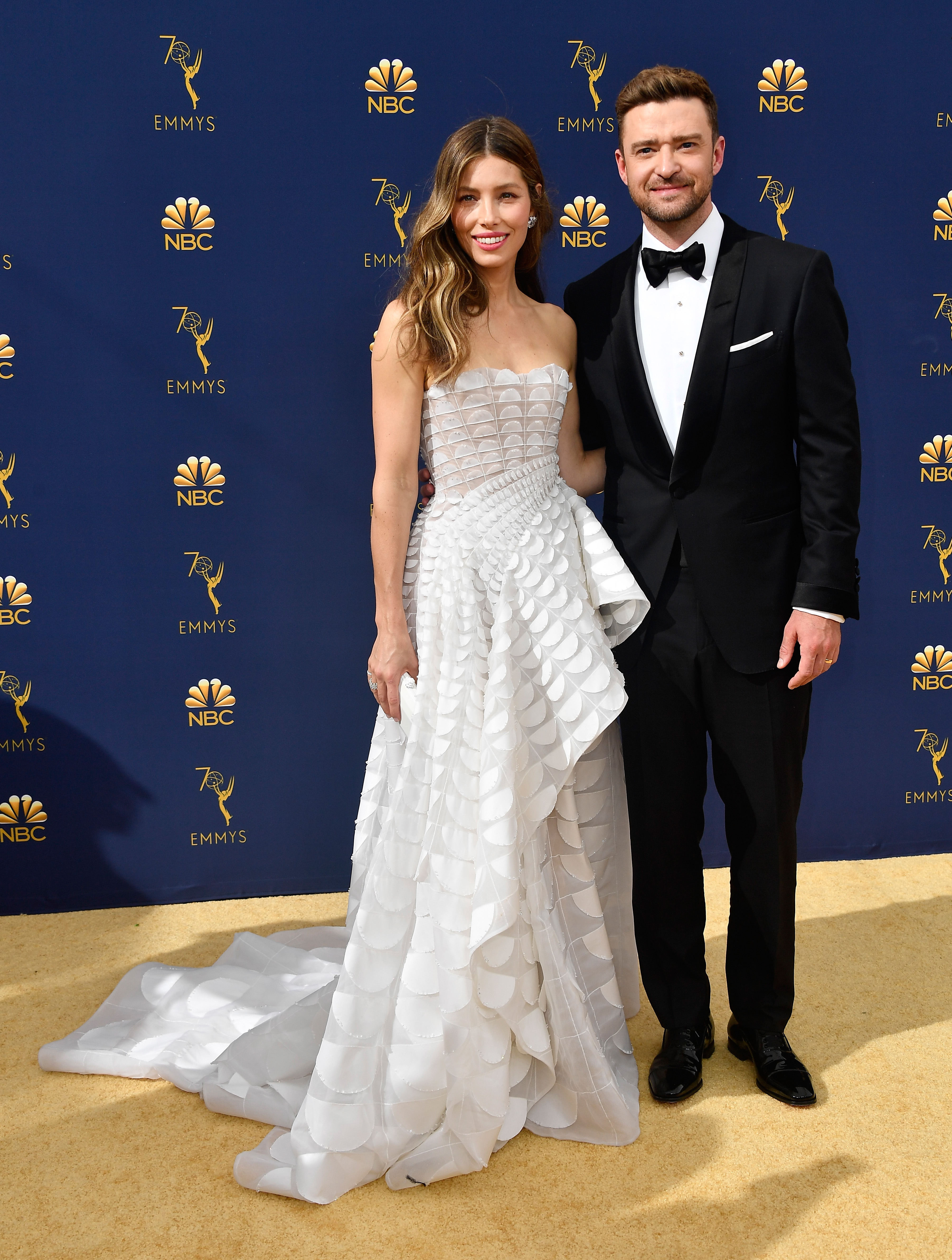 Jessica Biel (L) and Justin Timberlake attend the 70th Emmy Awards at Microsoft Theater on September 17, 2018 in Los Angeles, California.