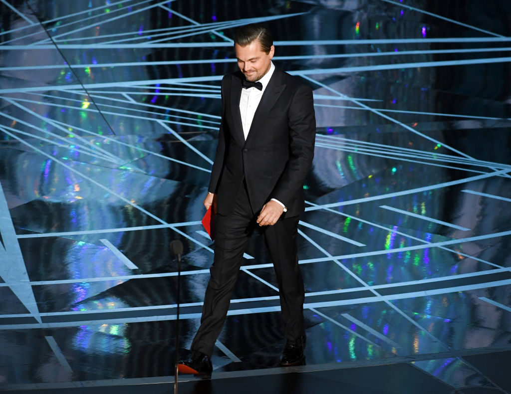 Actor Leonardo DiCaprio walks onstage during the 89th Annual Academy Awards at Hollywood & Highland Center on February 26, 2017, in Hollywood, California. (Getty Images)