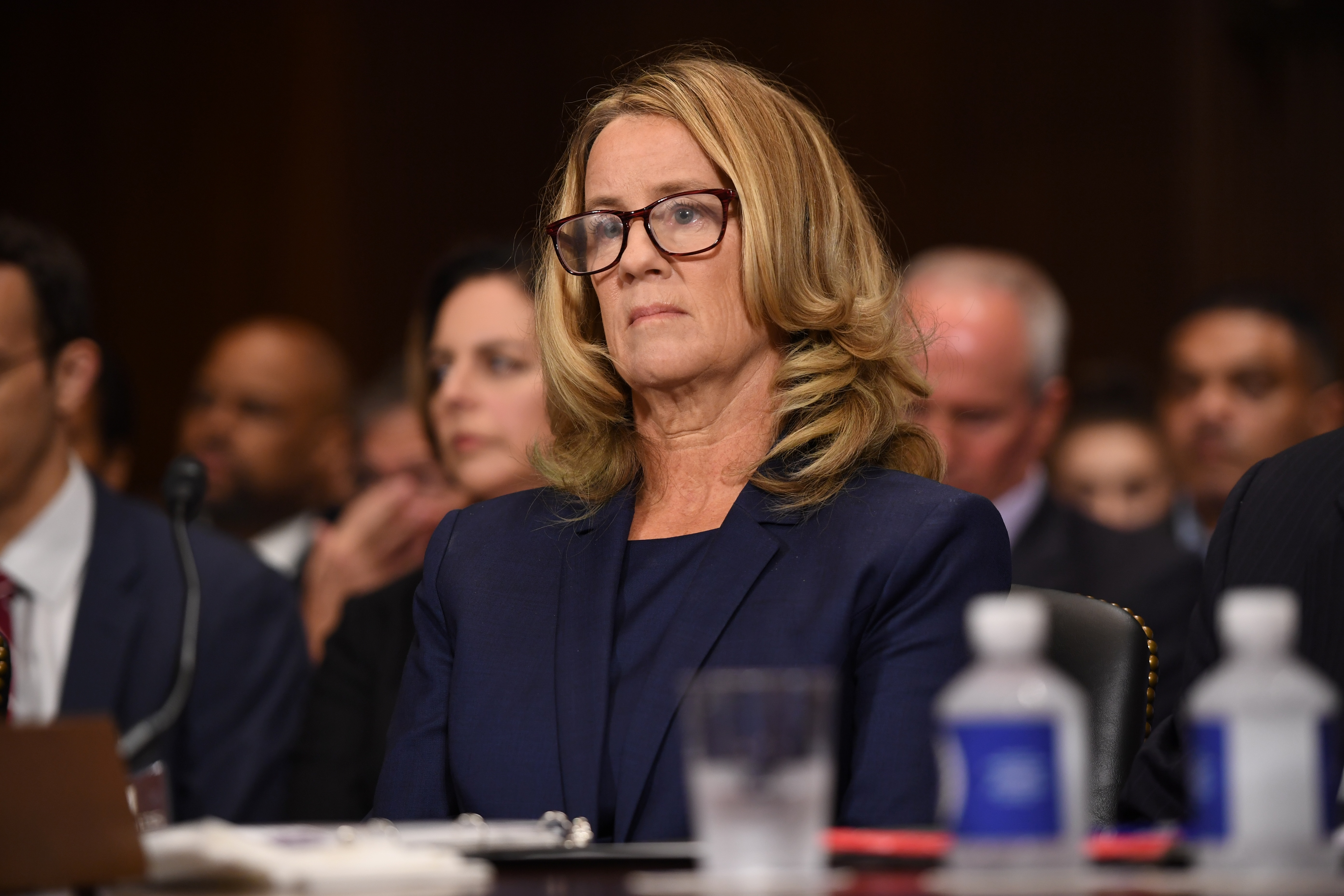 Christine Blasey Ford, testifies before the US Senate Judiciary Committee in the Dirksen Senate Office Building on Capitol Hill September 27, 2018 in Washington, DC. A professor at Palo Alto University and a research psychologist at the Stanford University School of Medicine, Ford has accused Supreme Court nominee Judge Brett Kavanaugh of sexually assaulting her during a party in 1982 when they were high school students in suburban Maryland.