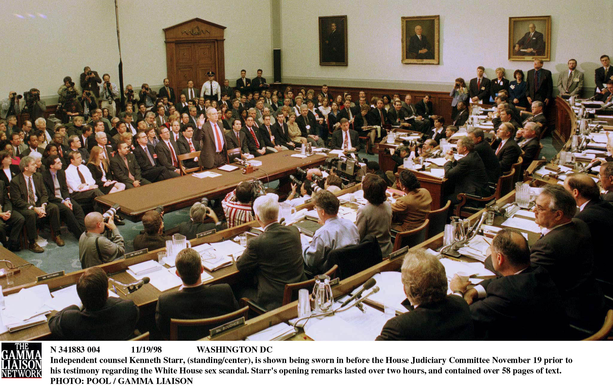 N 341883 004 11/19/98 Washington Dc Independent Counsel Kenneth Starr, (Standing/Center), Is Shown Being Sworn In Before The House Judiciary Committee November 19 Prior To His Testimony Regarding The White House Sex Scandal. Starr's Opening Remarks Lasted Over Two Hours, And Contained Over 58 Pages Of Text (Photo By Pool/Getty Images)