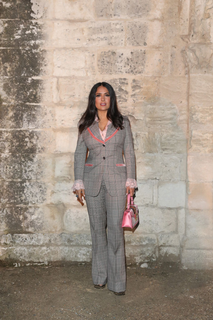 Salma Hayek Pinault attends the Gucci Cruise 2019 show at Alyscamps on May 30, 2018 in Arles, France. (Photo by Vittorio Zunino Celotto/Getty Images for Gucci )