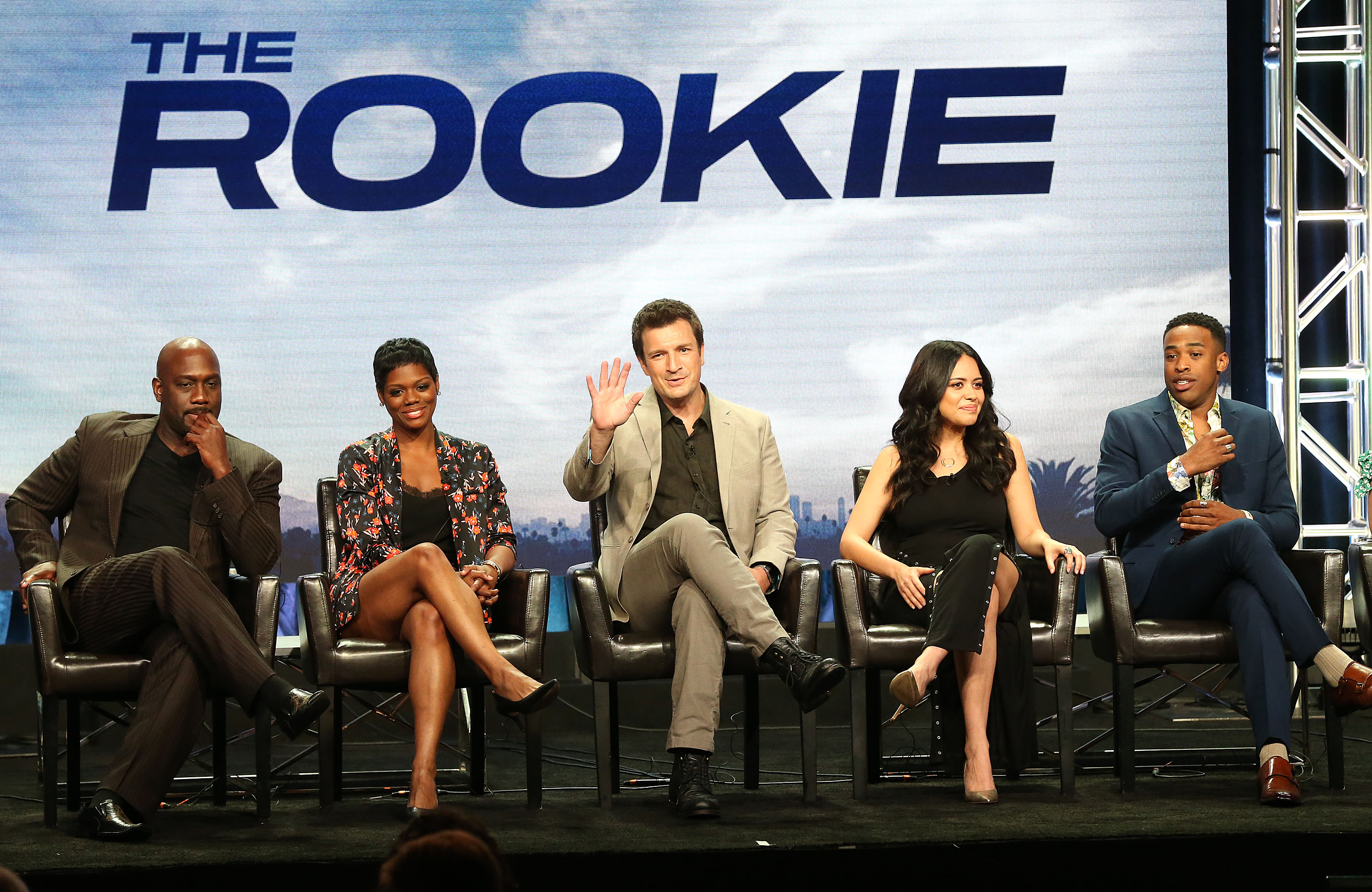 (L-R) Actor Richard T. Jones, actress Afton Williams, actor Nathan Fillion, actress Alyssa Diaz, and actor Titus Makin, Jr., of the television show 'The Rookie' speak during the Disney/ABC segment of the Summer 2018 Television Critics Association Press Tour at the Beverly Hilton Hotel on August 7, 2018 in Beverly Hills, California.