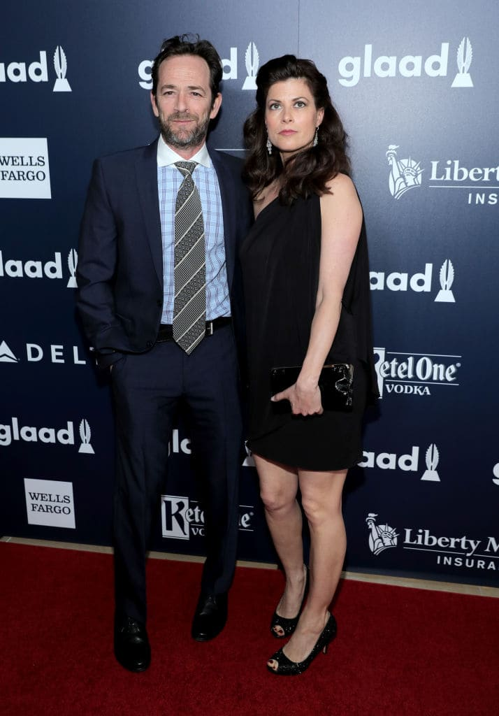 Luke Perry and Wendy Madison Bauer celebrate achievements in the LGBTQ community at the 28th Annual GLAAD Media Awards, sponsored by LGBTQ ally, Ketel One Vodka, in Beverly Hills on April 1, 2017. (Photo by Neilson Barnard/Getty Images)