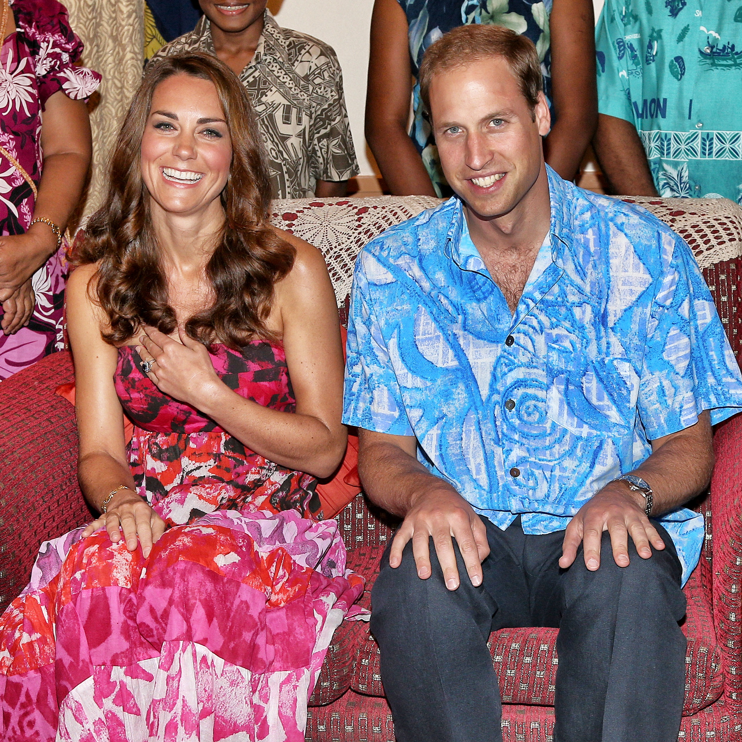 Catherine, Duchess of Cambridge and Prince William, Duke of Cambridge pose in traditional Island clothing as they visit the Governor General's house on their Diamond Jubilee tour of the Far East on September 16, 2012 in Honiara, Guadalcanal Island (Getty Images)