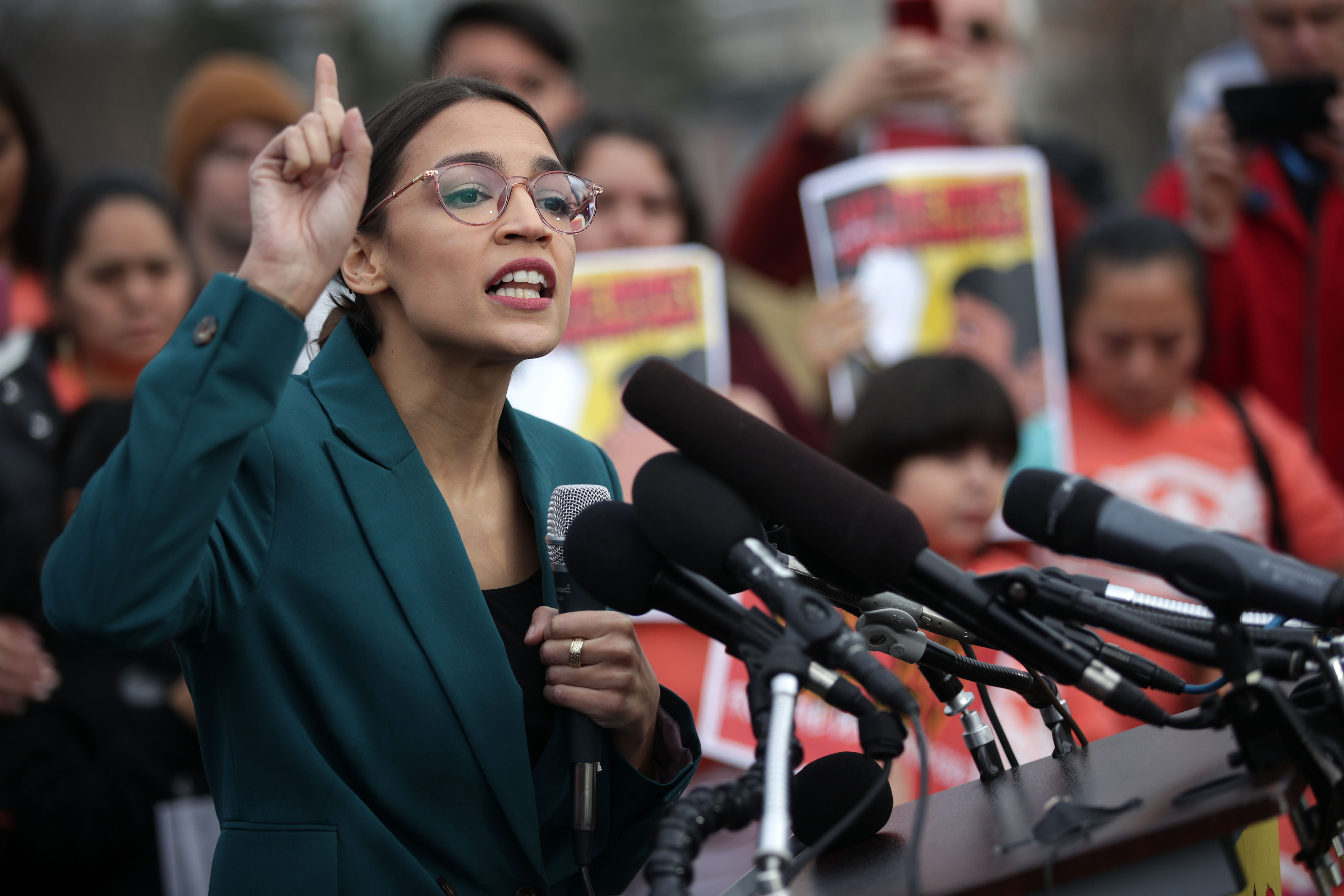 U.S. Rep. Alexandria Ocasio-Cortez (D-NY) speaks during a news conference at the East Front of the U.S. Capitol February 7, 2019, in Washington, DC. The freshmen congresswoman held a news conference to call on Congress 'to cut funding for President Trump's deportation force.' (Getty Images)