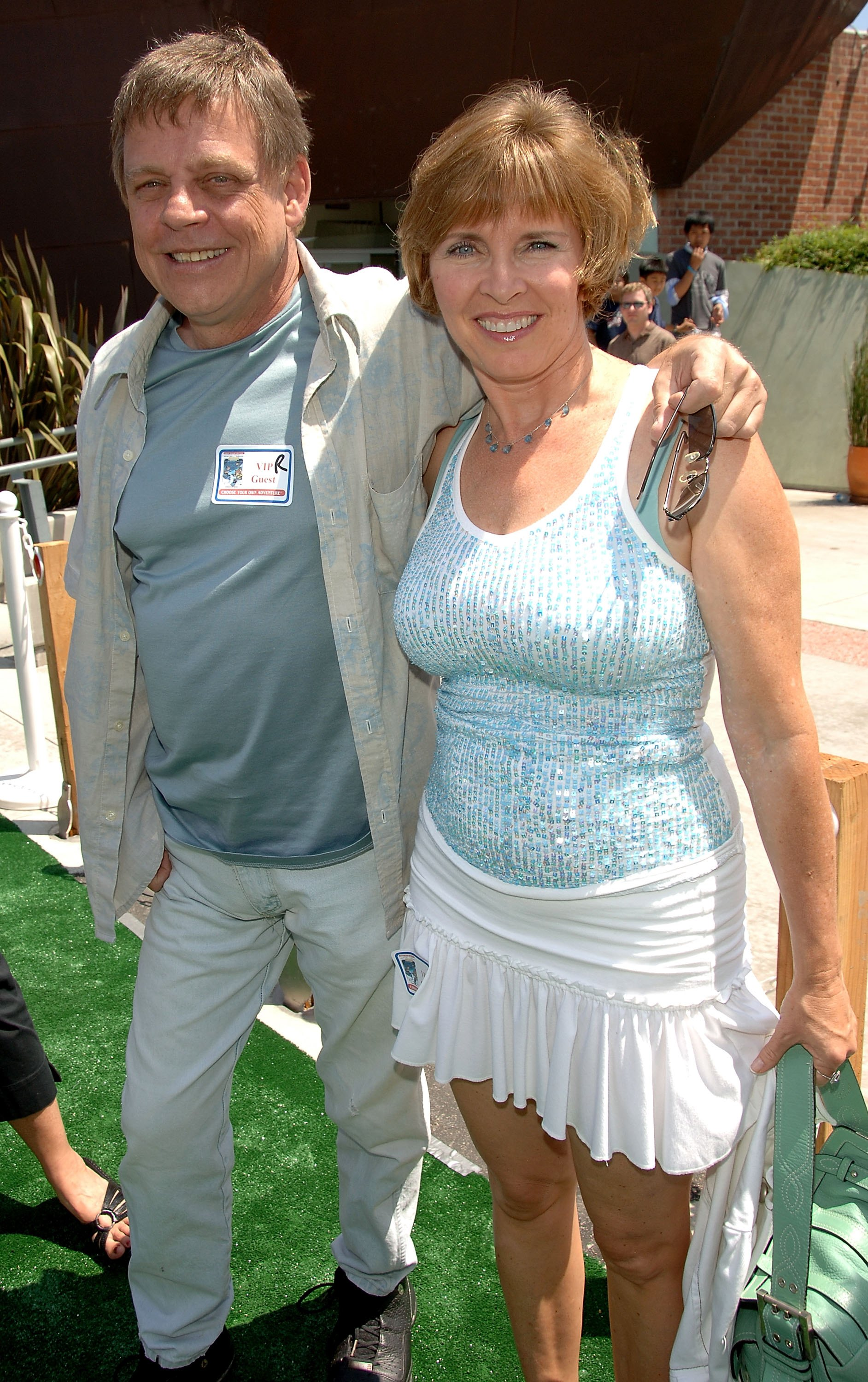 Actor Mark Hamill and wife Marilou York arrive at the DVD Release 'Choose Your Own Adventure: The Abominable Snowman' at the Star Eco Station on July 22, 2006 in Culver City, California. (Stephen Shugerman/Getty Images for Star Eco Station)