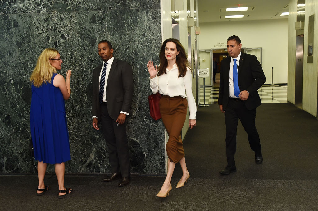 Actress and Special Envoy to the United Nations High Commissioner for Refugees Angelina Jolie visits The United Nations on September 14, 2017, in New York City. (Getty Images)